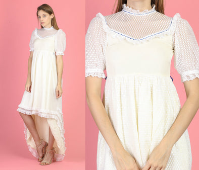 70s Sheer White Polka Dot High Low Party Dress - Petite Extra Small