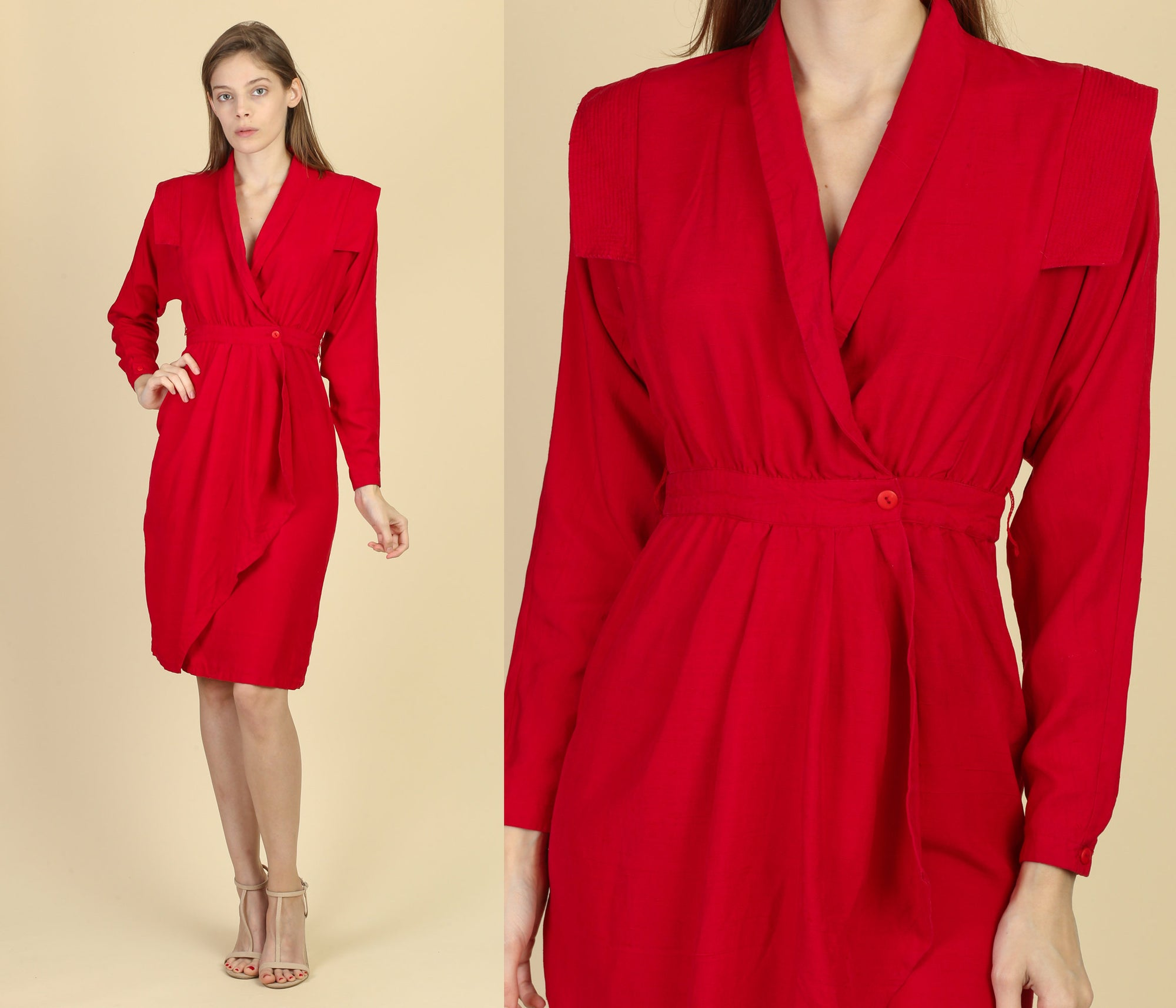 80s Red Working Girl Dress - Extra Small