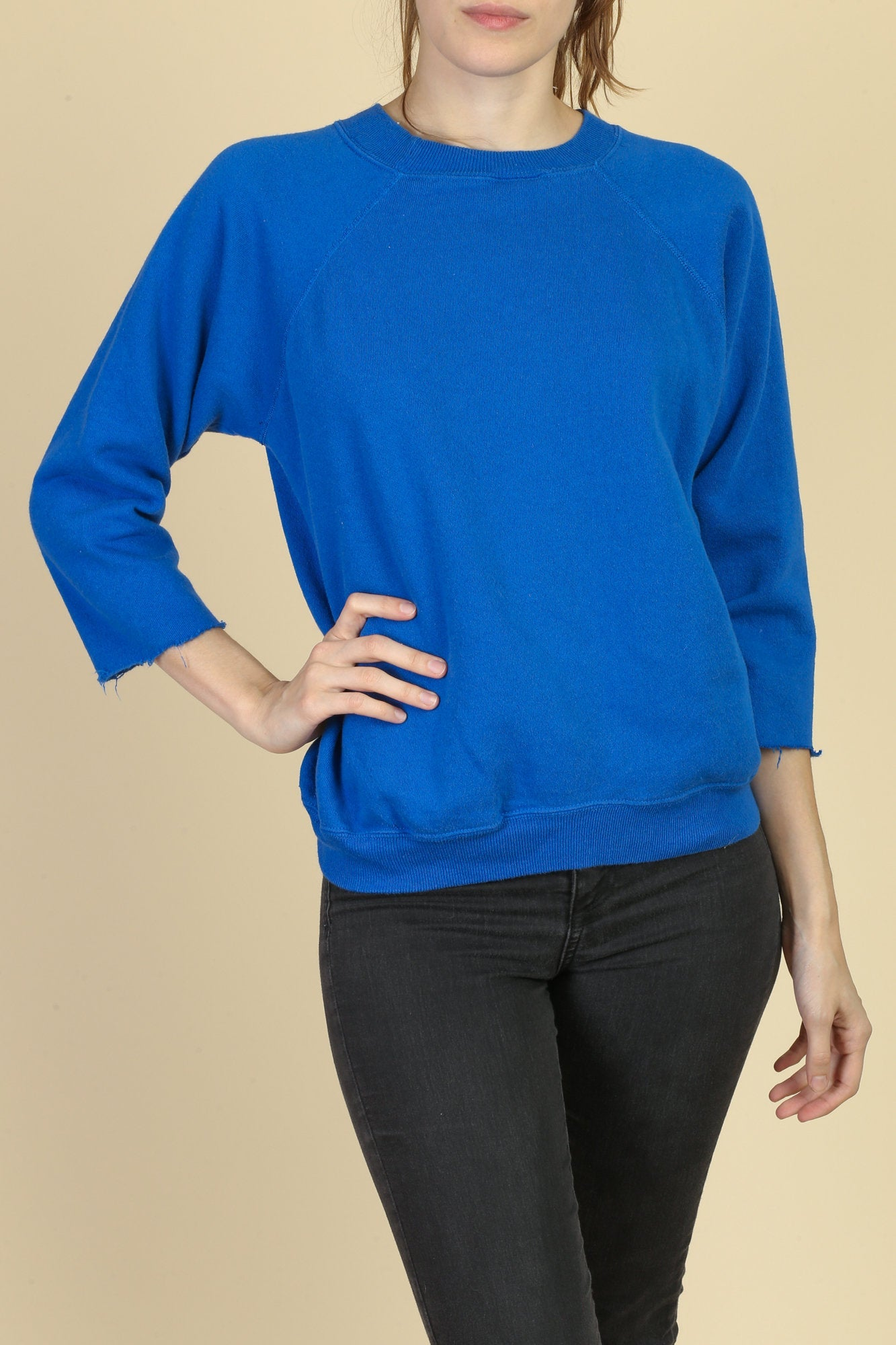 80s 3/4 Sleeve Cut Off Sweatshirt - Large