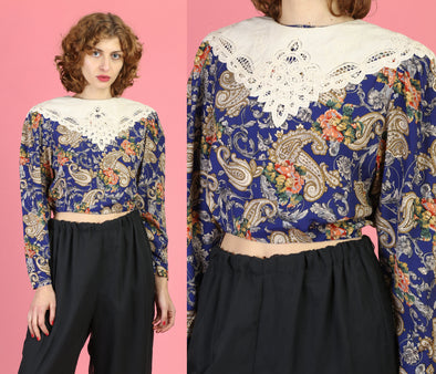 80s Floral Button Back Crop Top - Small