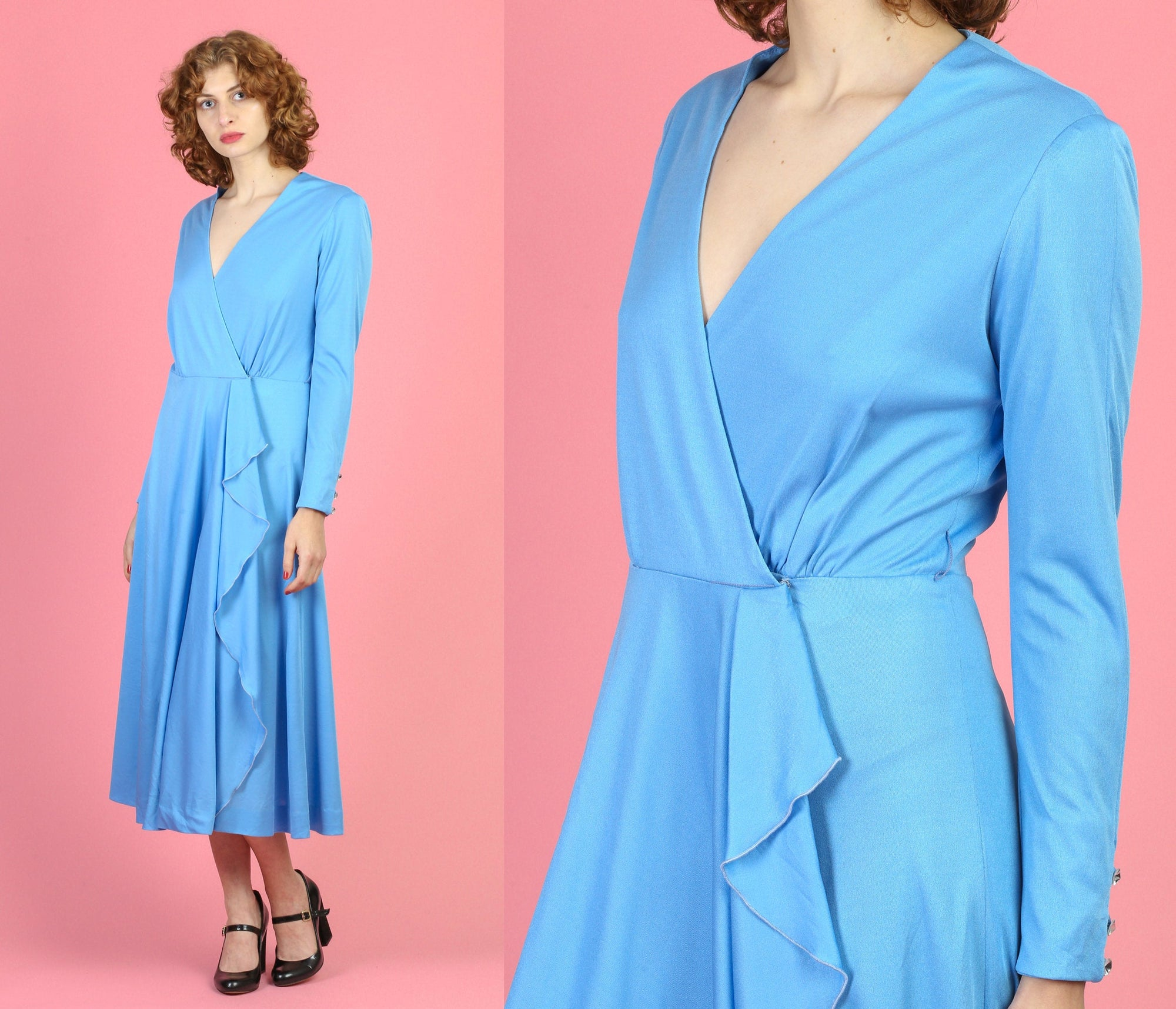 70s Blue Wrap Midi Dress - Medium