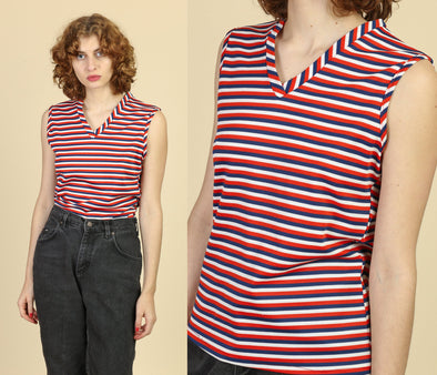 70s Red White & Blue Tank - Medium to Large
