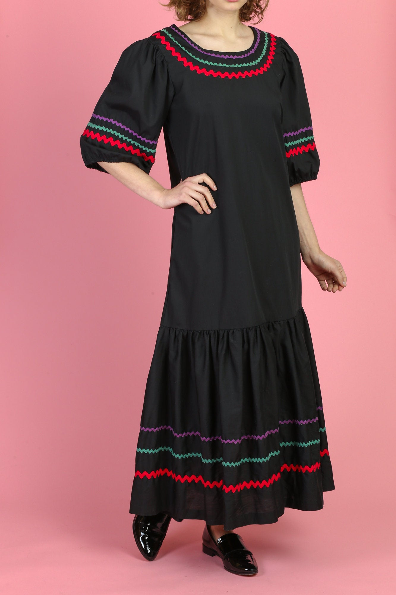 Vintage Grunge Mexican Ric Rac Trim Maxi Dress - Medium