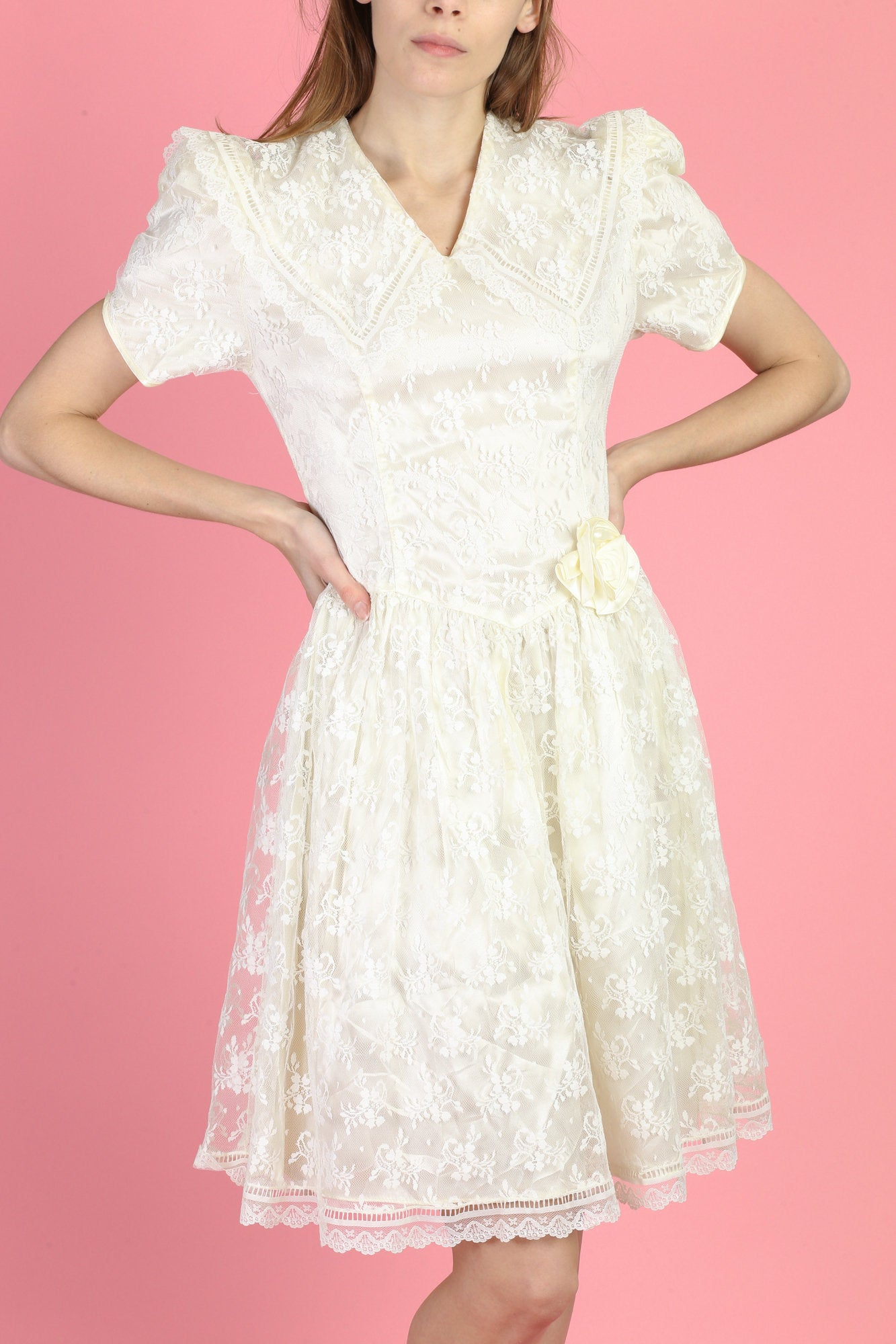 80s Gunne Sax Lace Puff Sleeve Dress - Extra Small