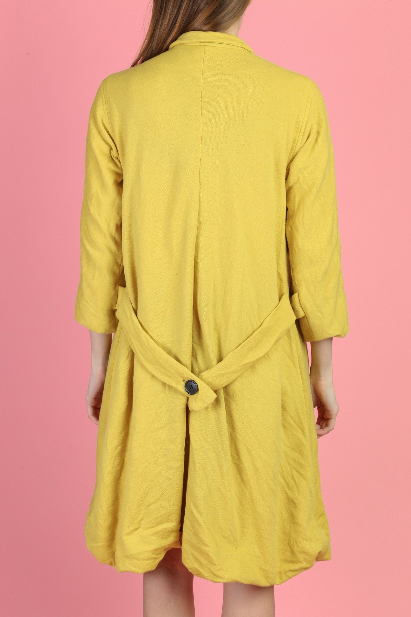 60s Mod Yellow Button Up Swing Coat - Extra Small