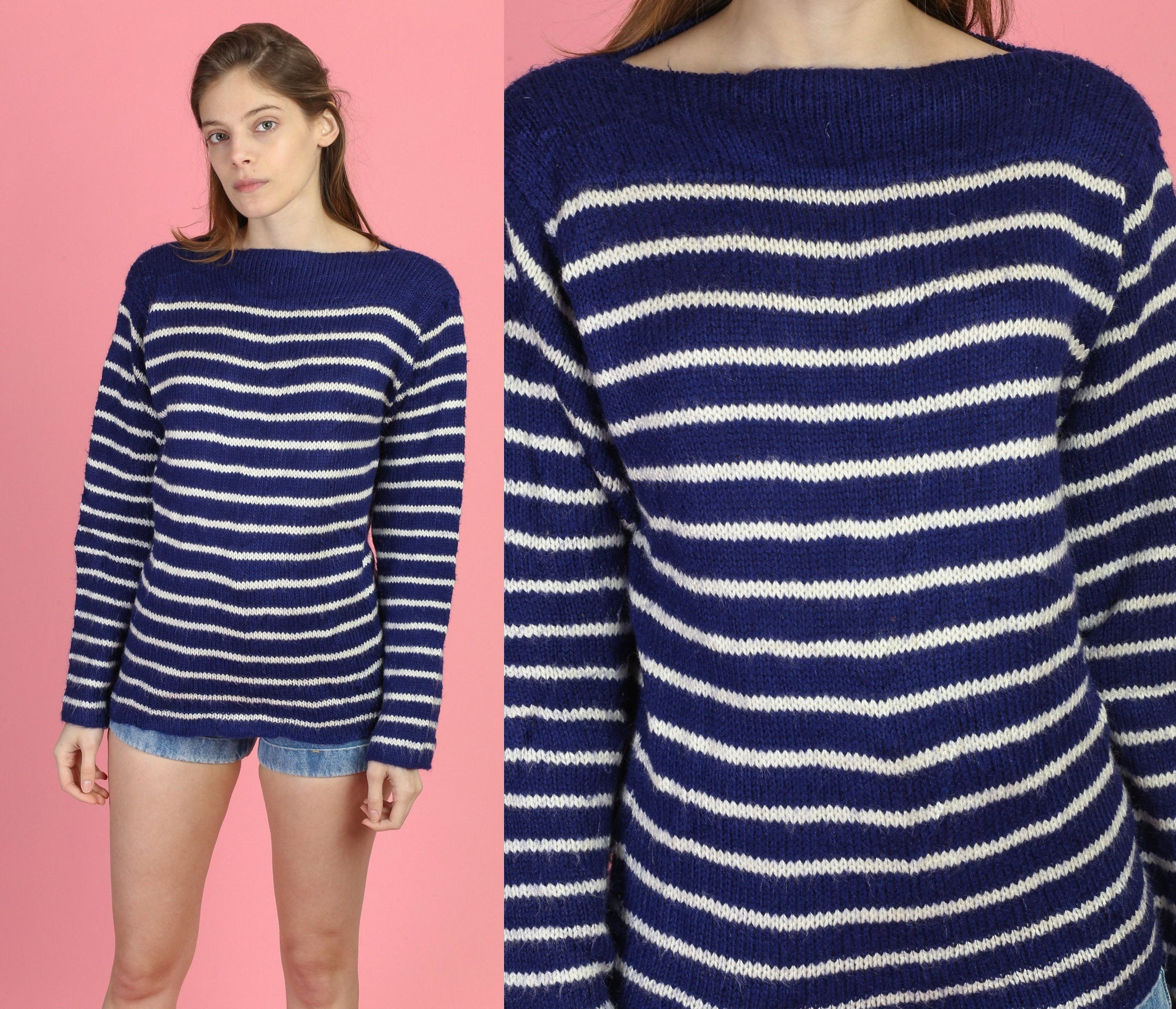 Vintage Navy Blue Striped Boat Neck Sweater - Medium