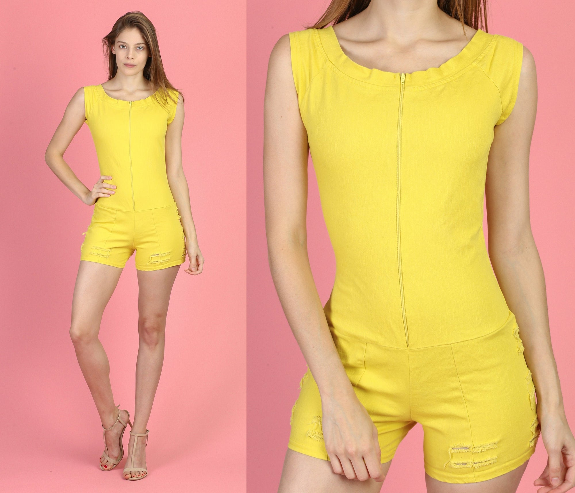 90s Yellow Ripped Denim Romper - XS to Small