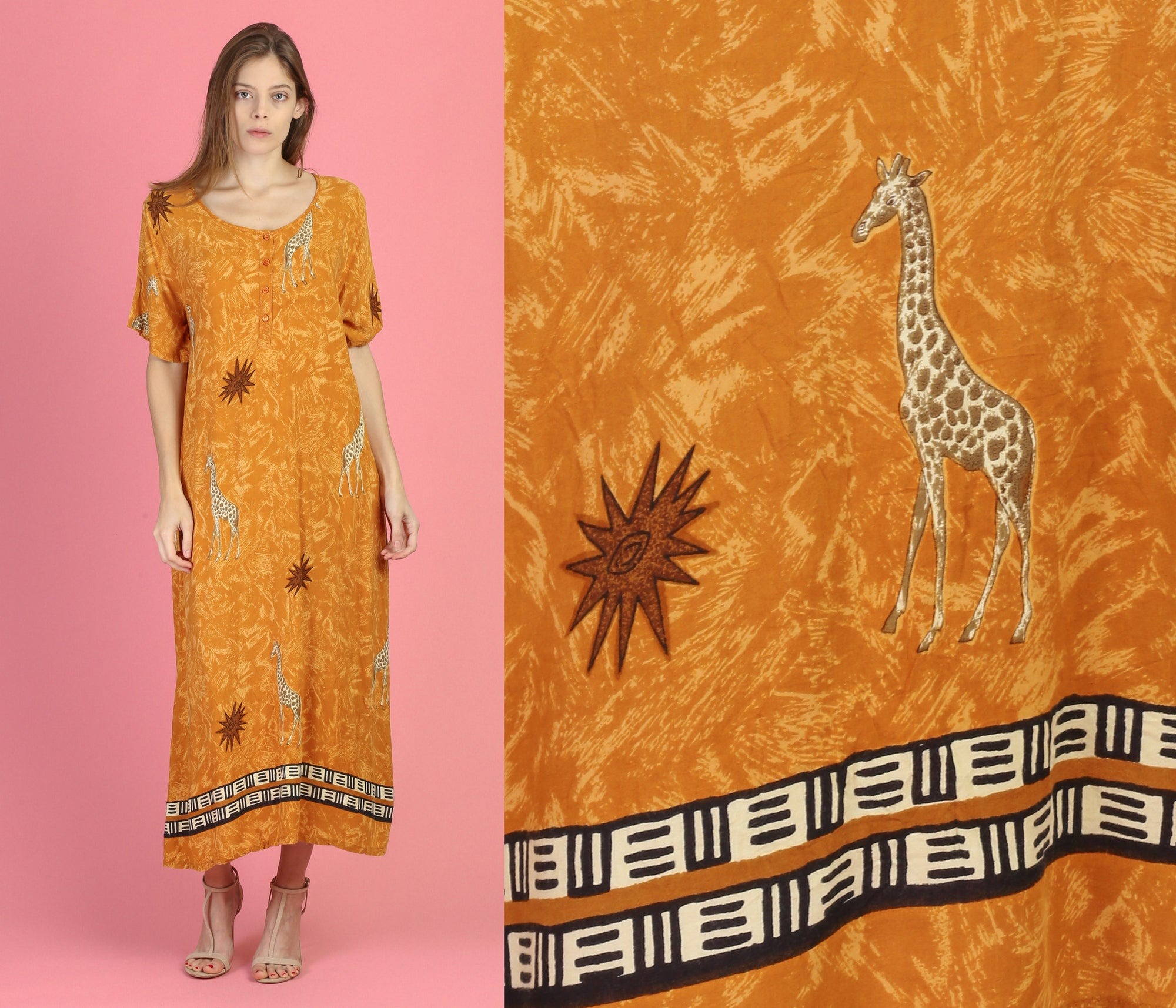 Vintage Giraffe Loungewear Kaftan Dress - Extra Large