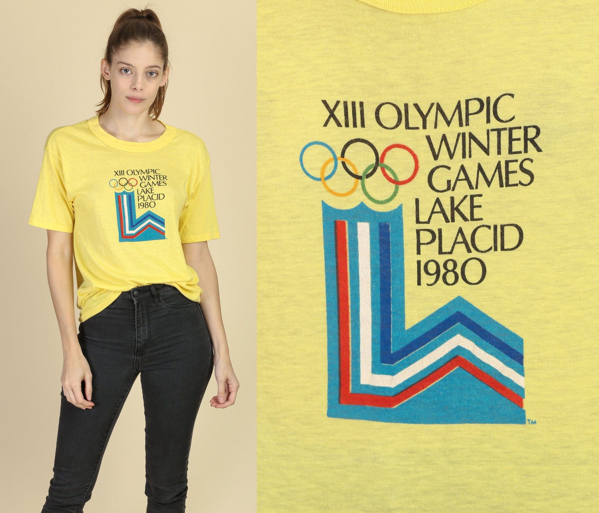 1980 Winter Olympics XIII Lake Placid T Shirt - Large