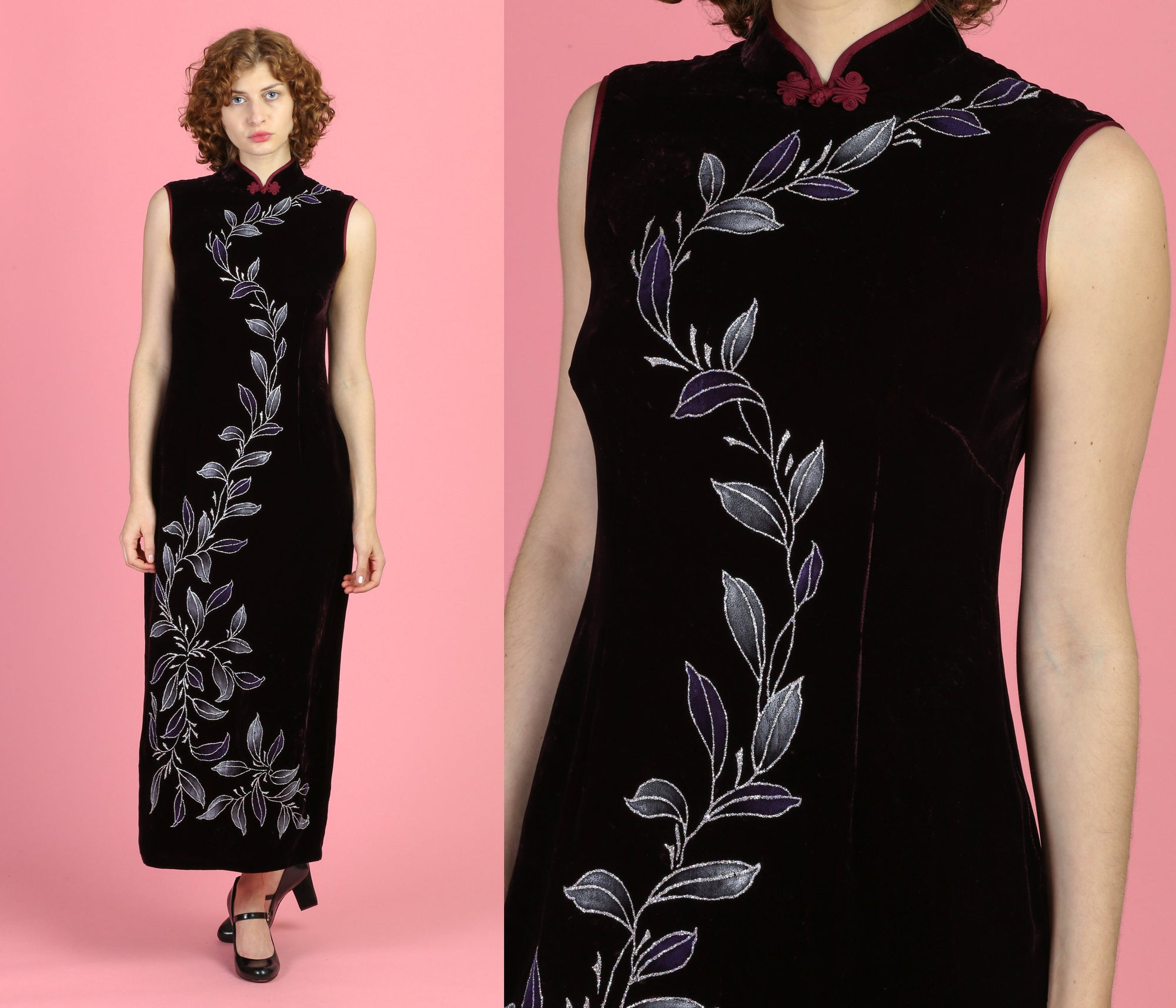 Vintage Purple Velvet Cheongsam Dress - Medium