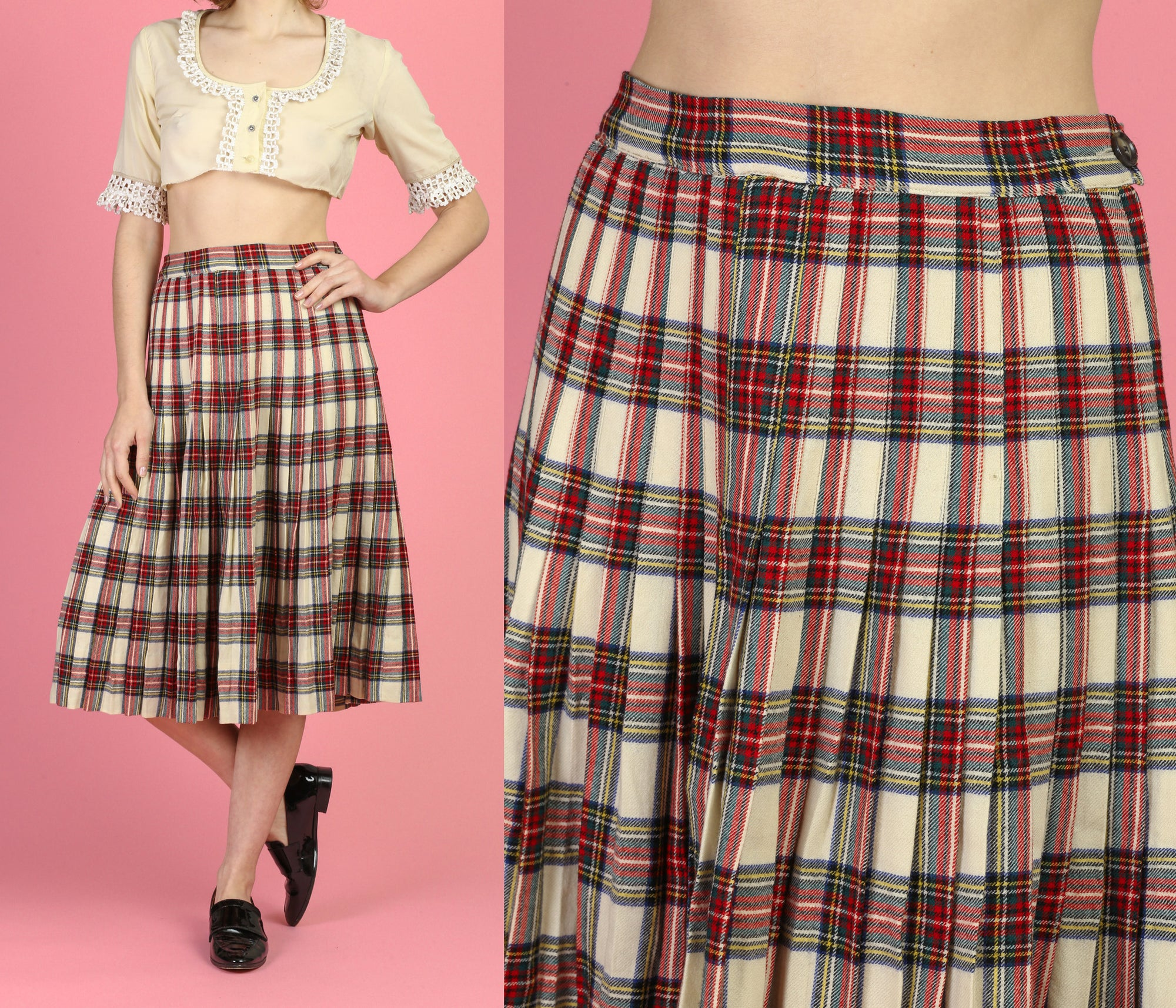 70s Plaid Tartan Midi Skirt - Medium