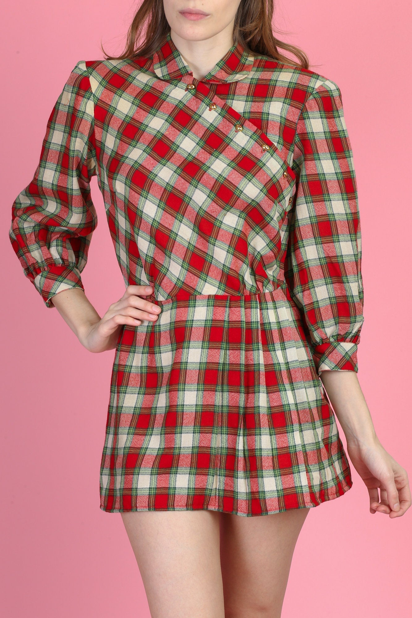 1940s Plaid Joan Miller Juniors Micro Mini Dress - Small