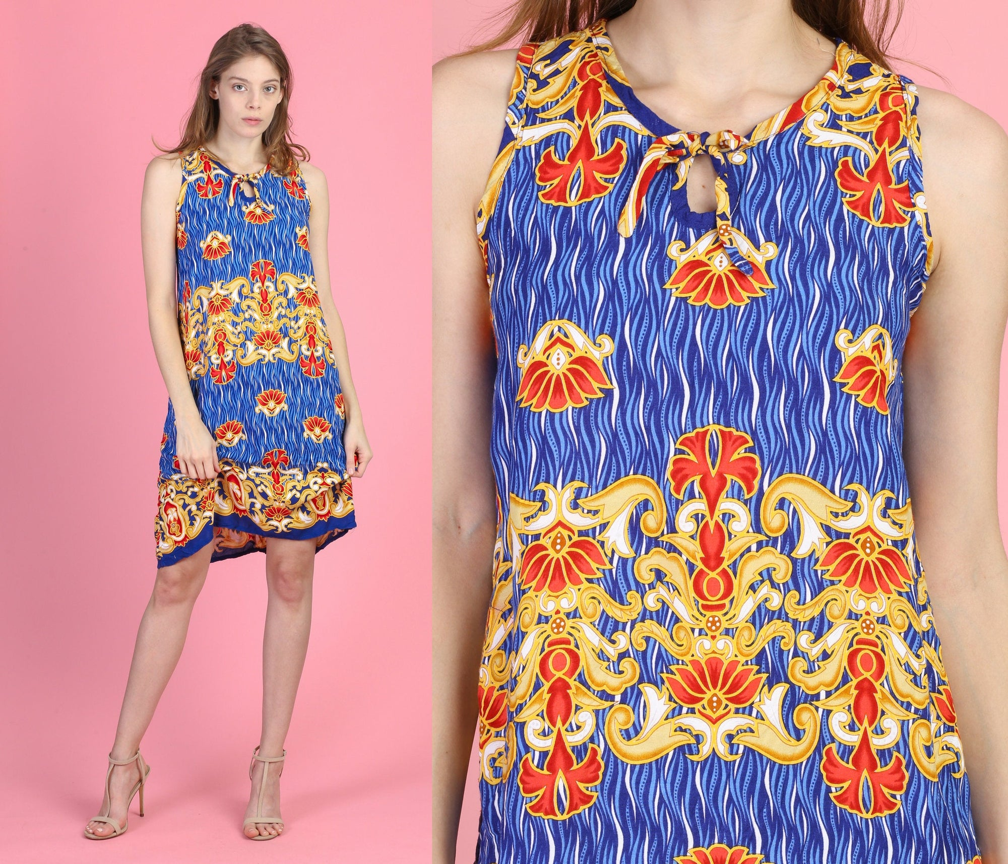 90s Boho Rayon Mini Dress - Small