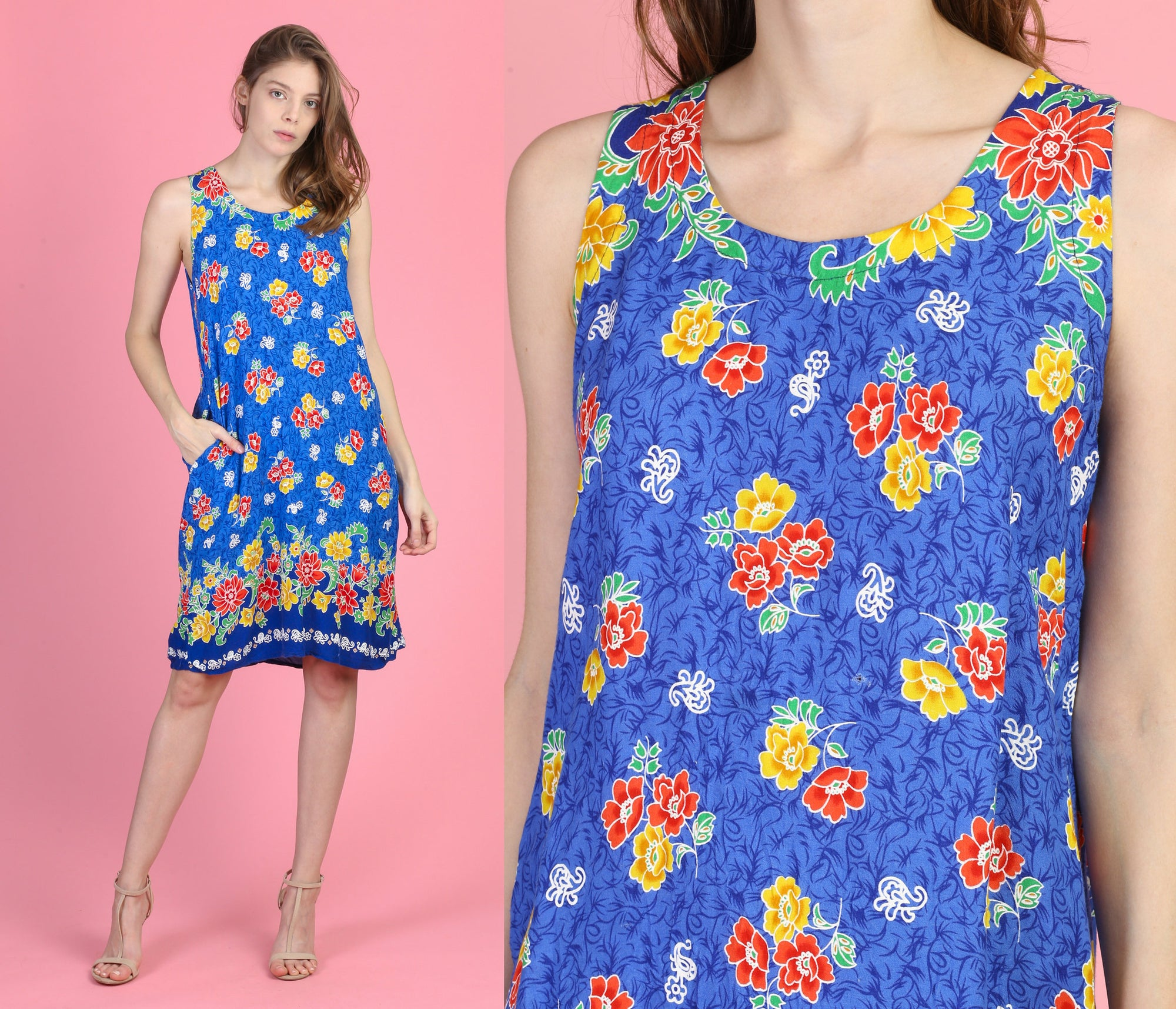 90s Floral Mini Sundress - Medium