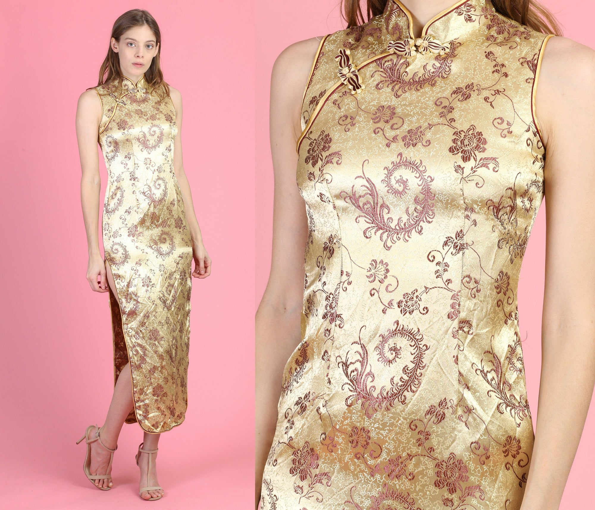 Vintage Gold Cheongsam High Slit Dress - Extra Small