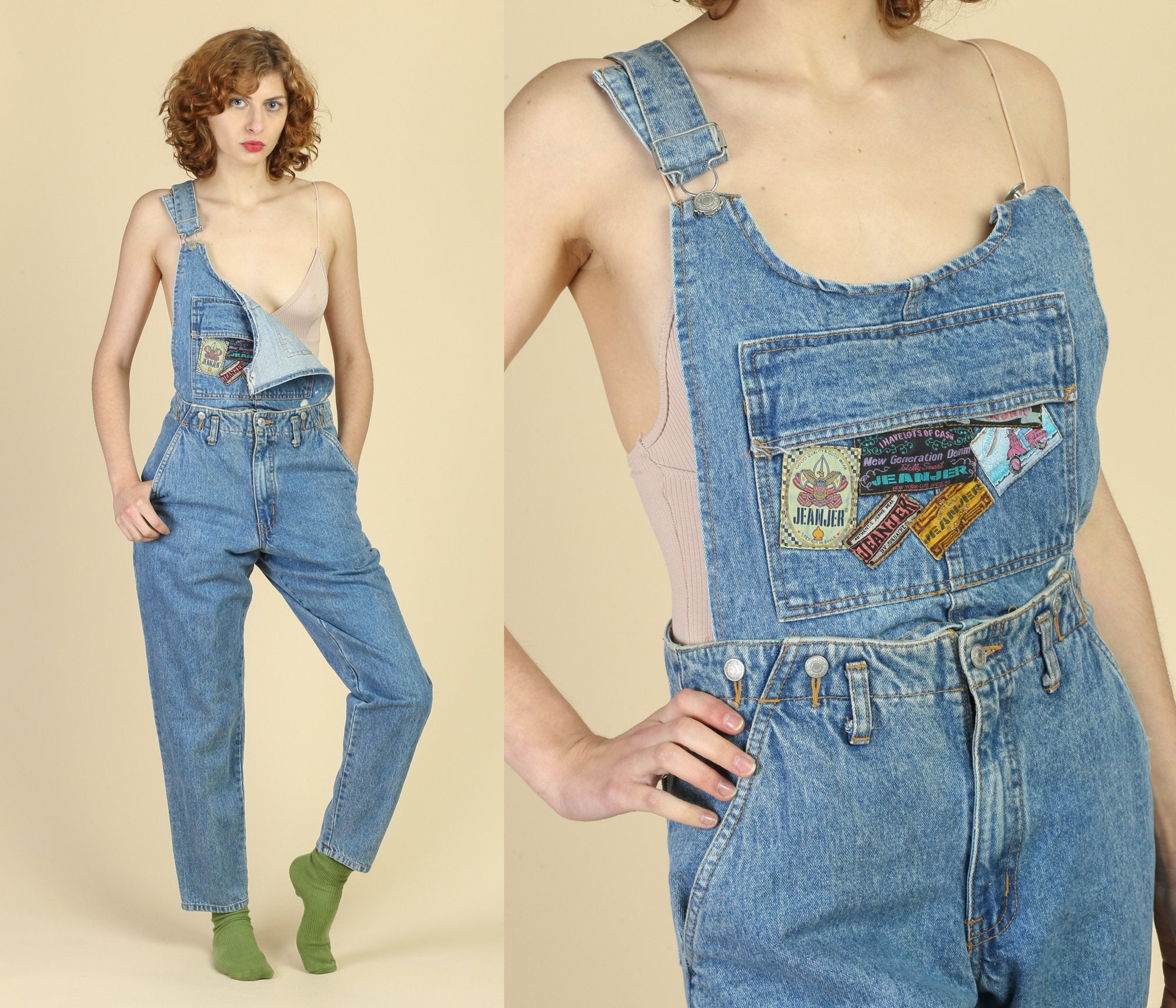 80s Jeanjer Overall Convertible High Waist Jeans - Medium