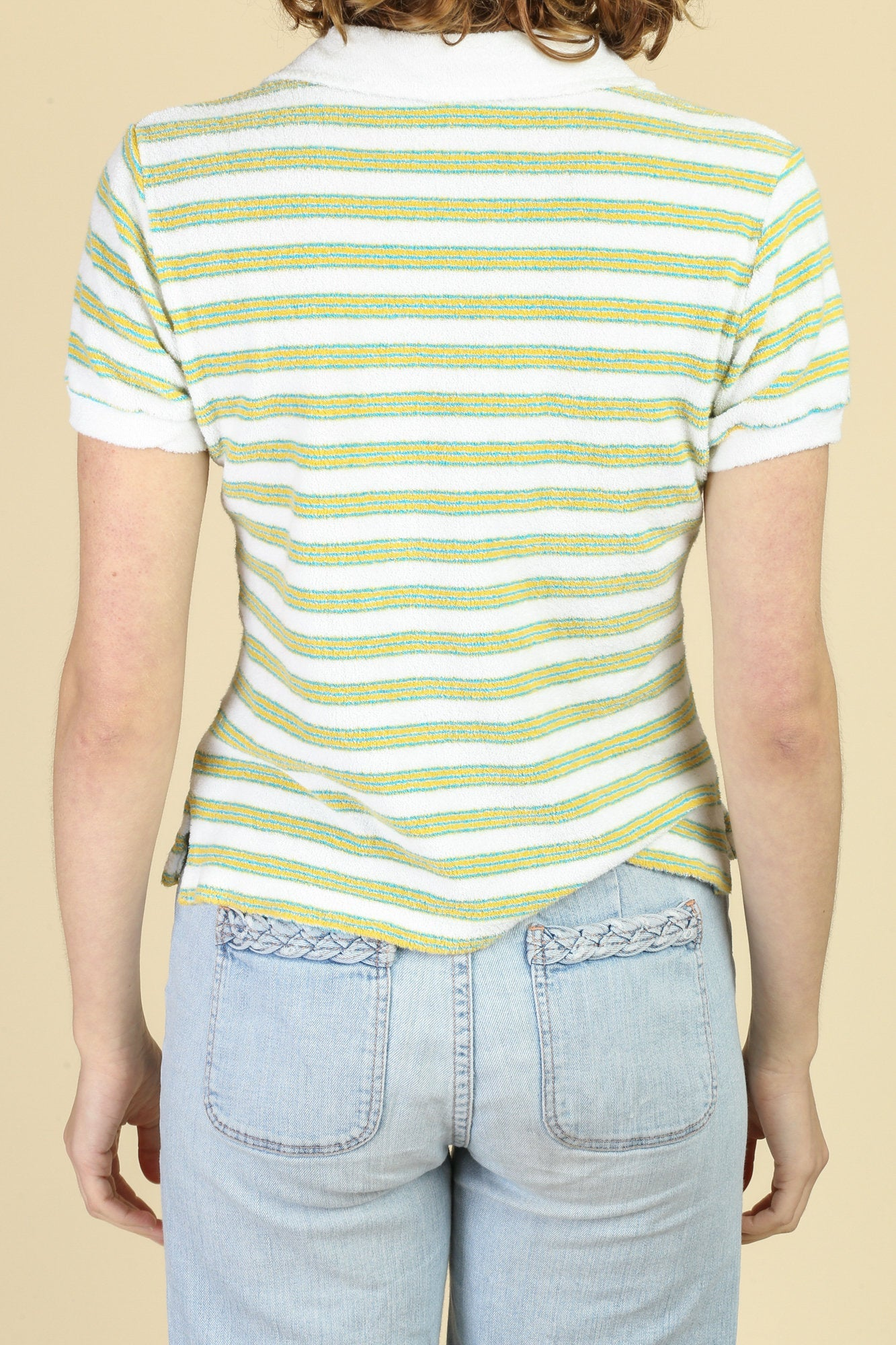 80s Striped Terrycloth Polo - Medium