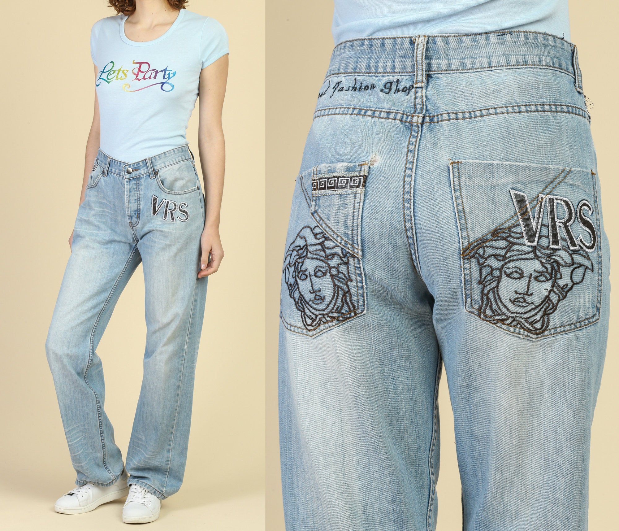 Vintage Versace Sport Embroidered Jeans - US Size 10, 32""