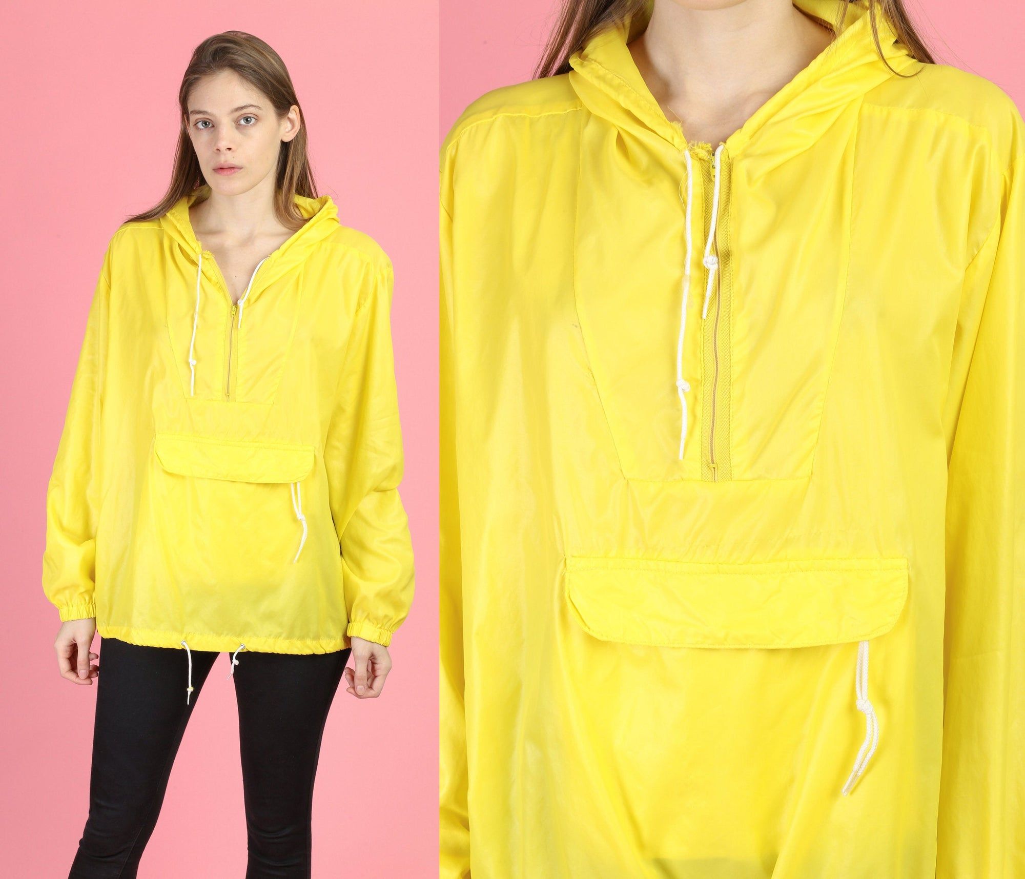80s Streetwear Yellow Hooded Windbreaker - Men's Large
