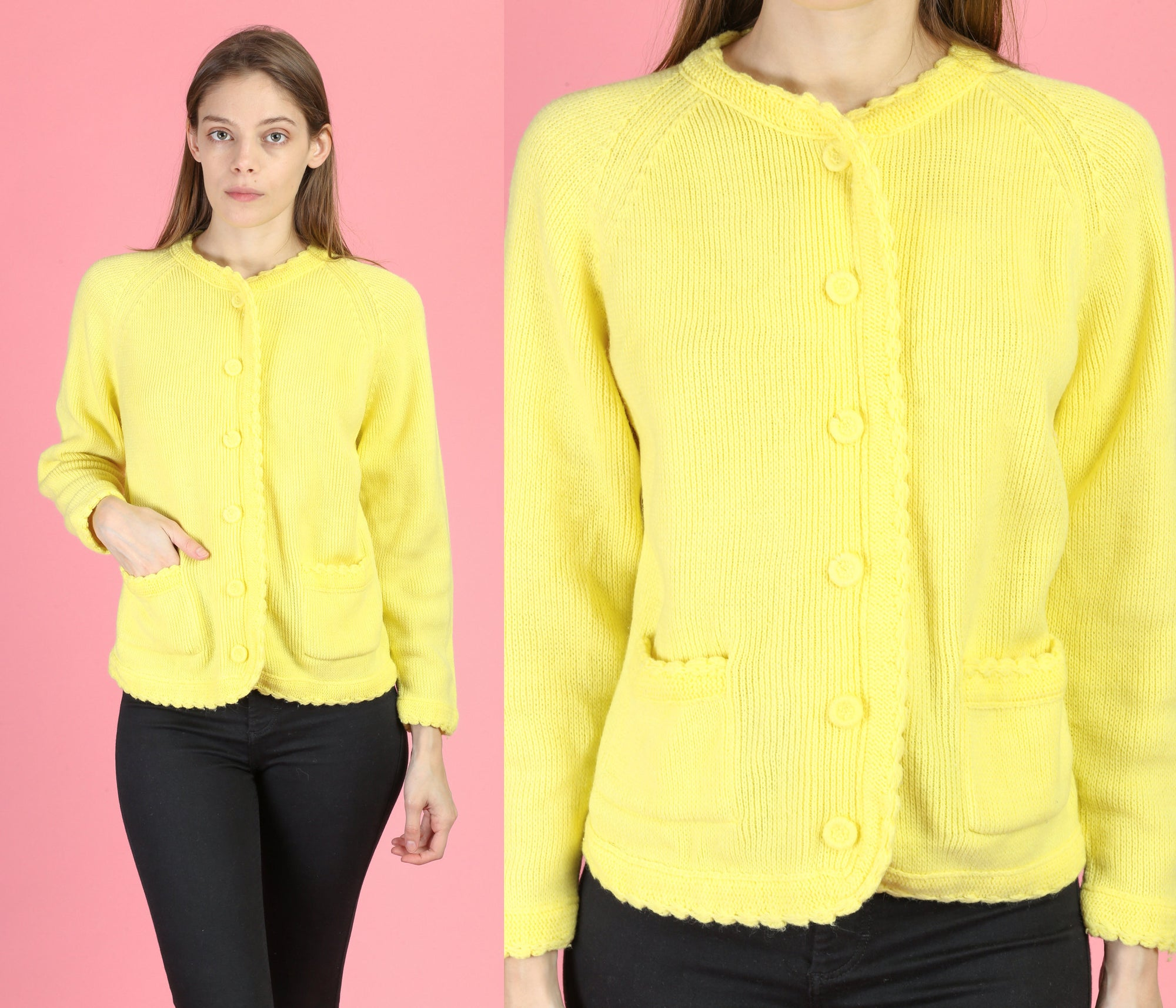 70s Yellow Knit Cardigan - Small