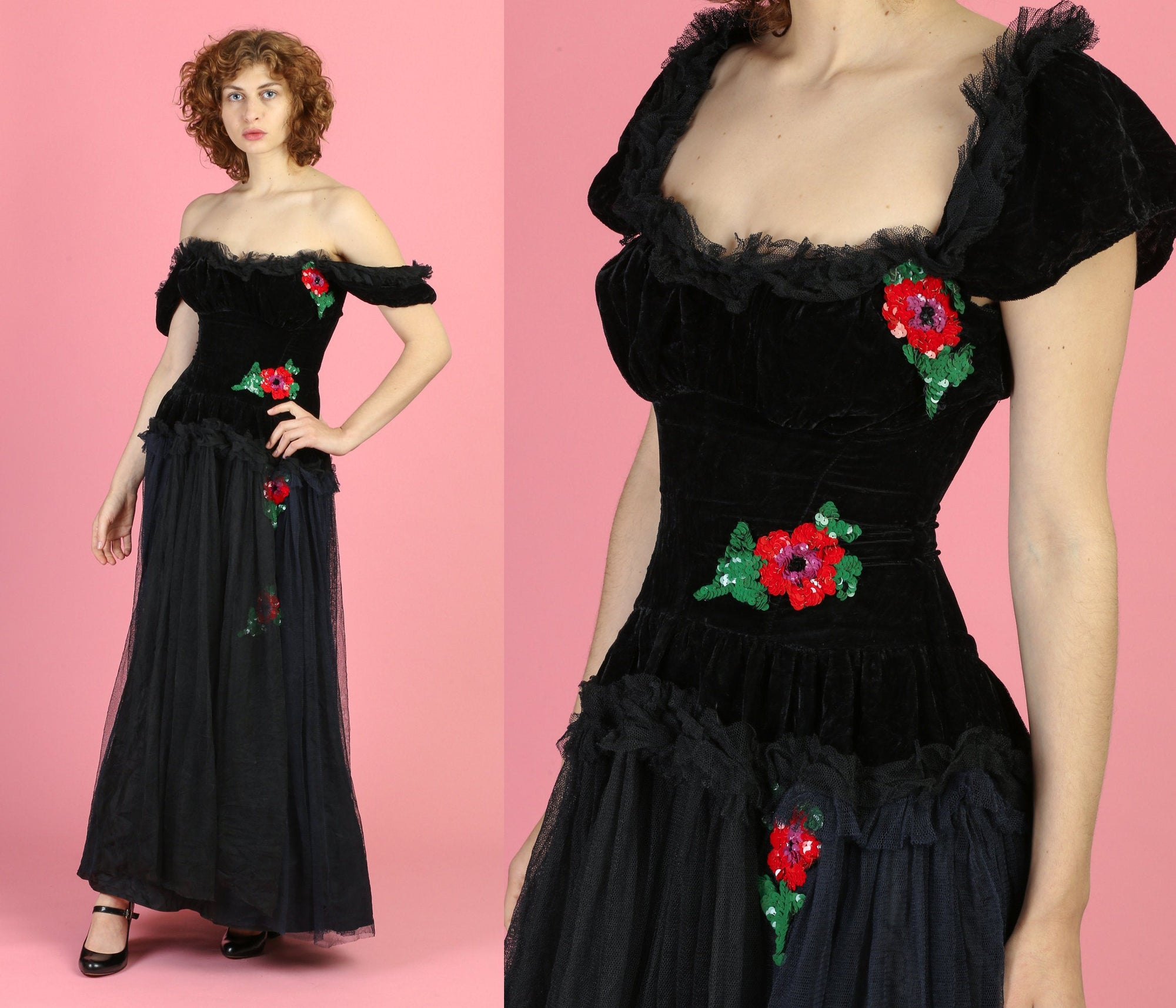 1930s Velvet & Floral Sequin Evening Gown - XS to Small