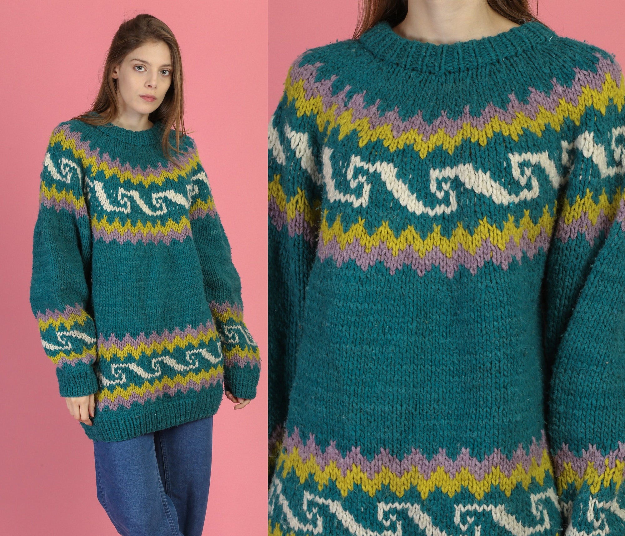 70s Oversize Ecuadorian Knit Sweater - Large