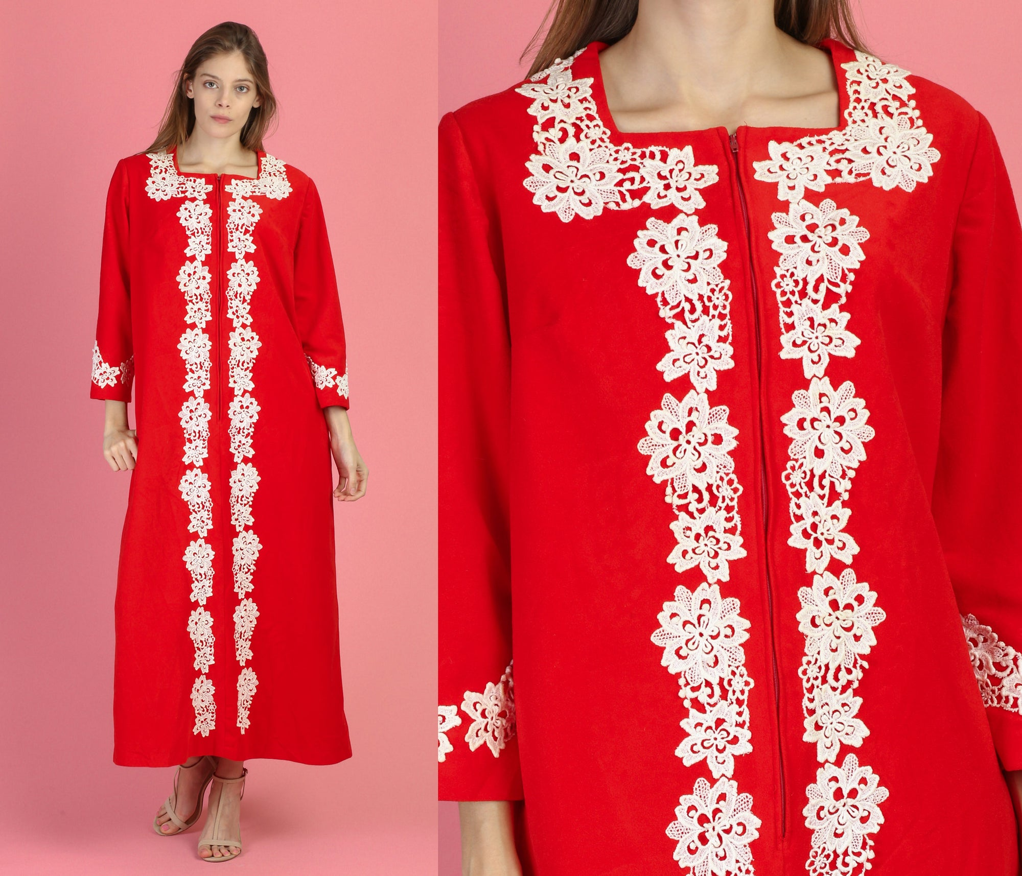 70s Red Felt Crochet Loungewear Robe - One Size