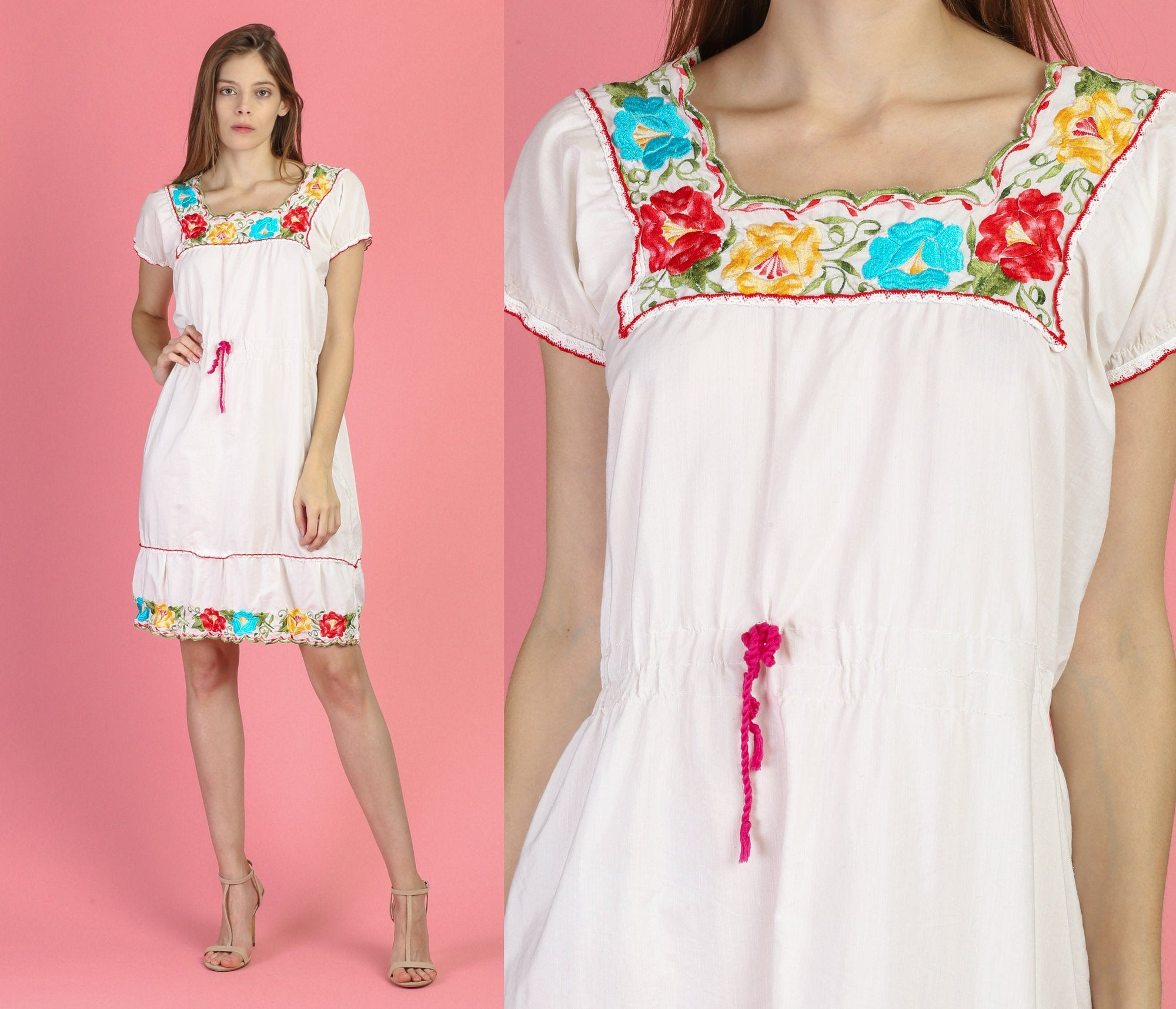 70s Boho Mexican Mini Dress - Large