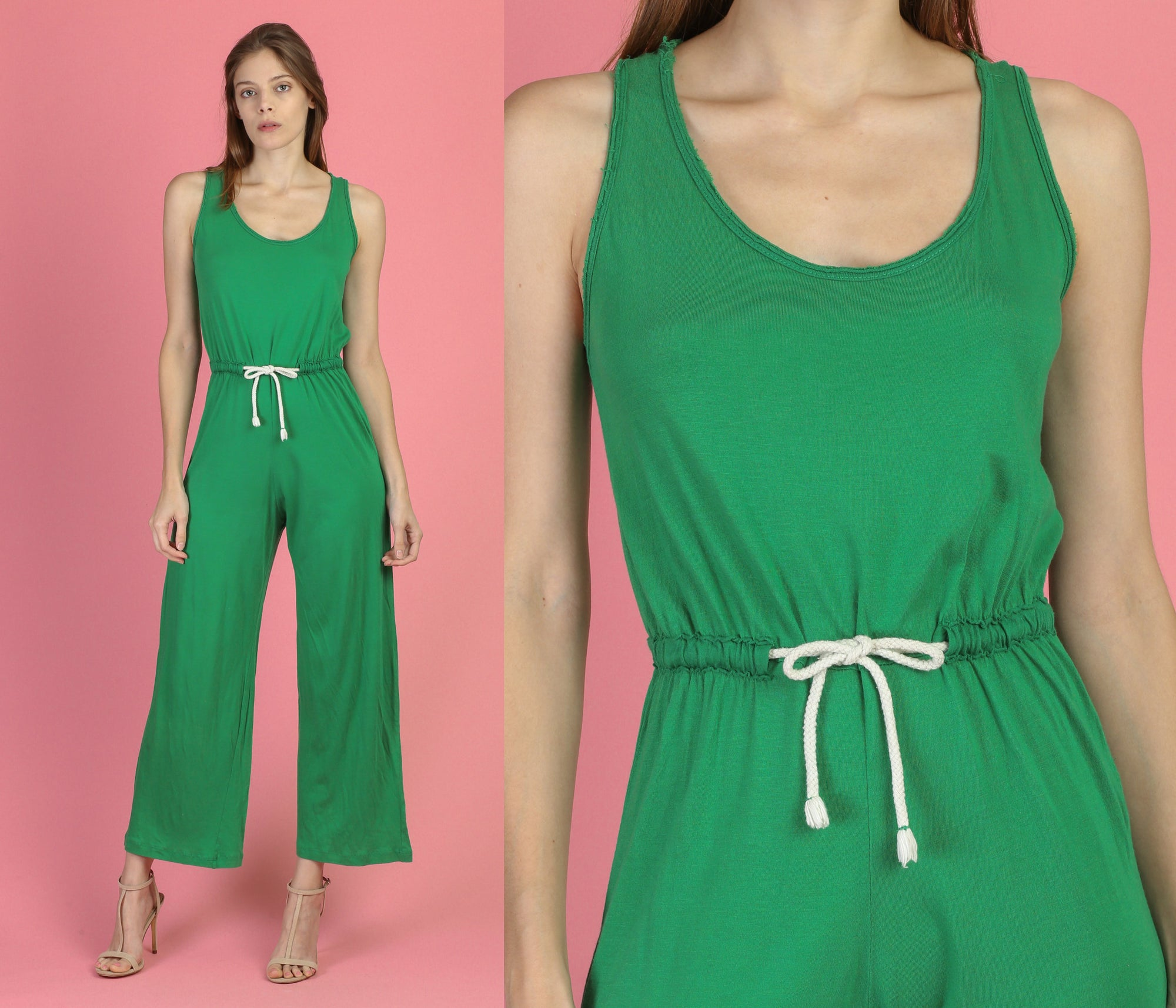 Vintage Green Drawstring Waist Jumpsuit - Small to Medium