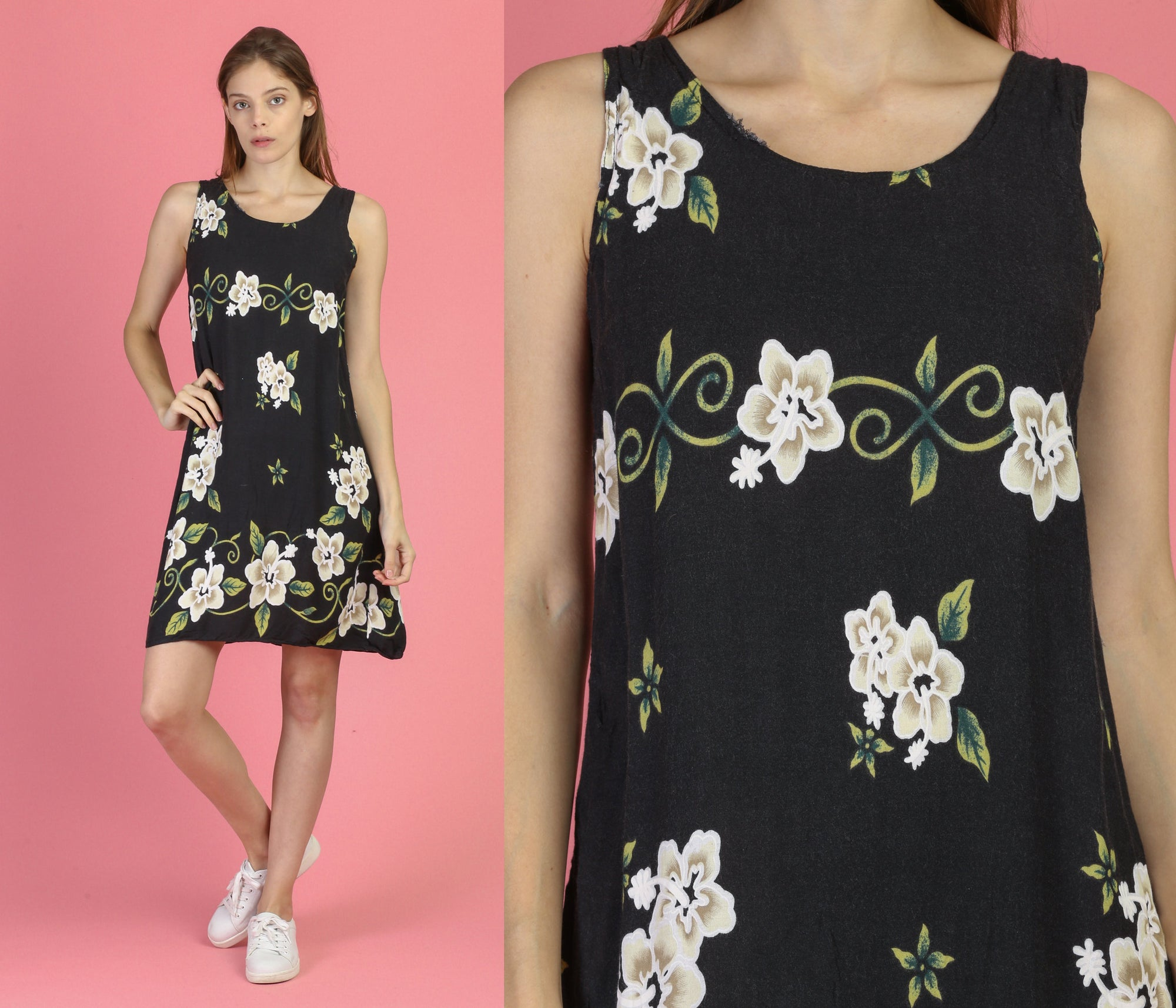 90s Black Floral Mini Dress - Small