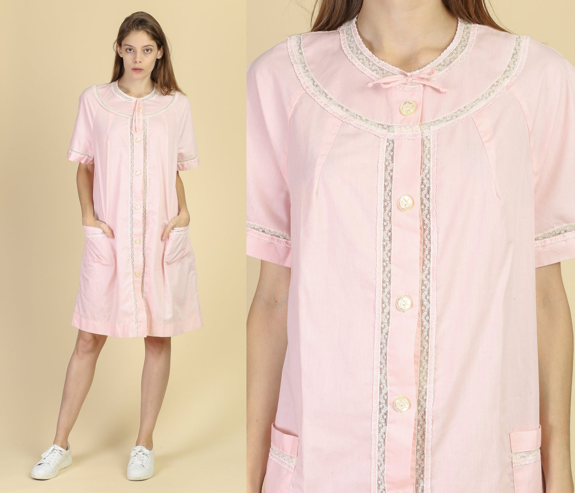 60s Barbizon Pink House Dress - Medium