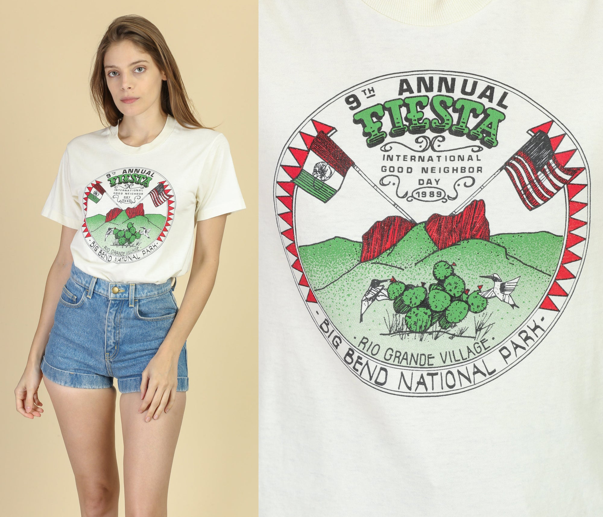 1989 US Mexico Good Neighbor Fiesta Graphic Tee - Medium