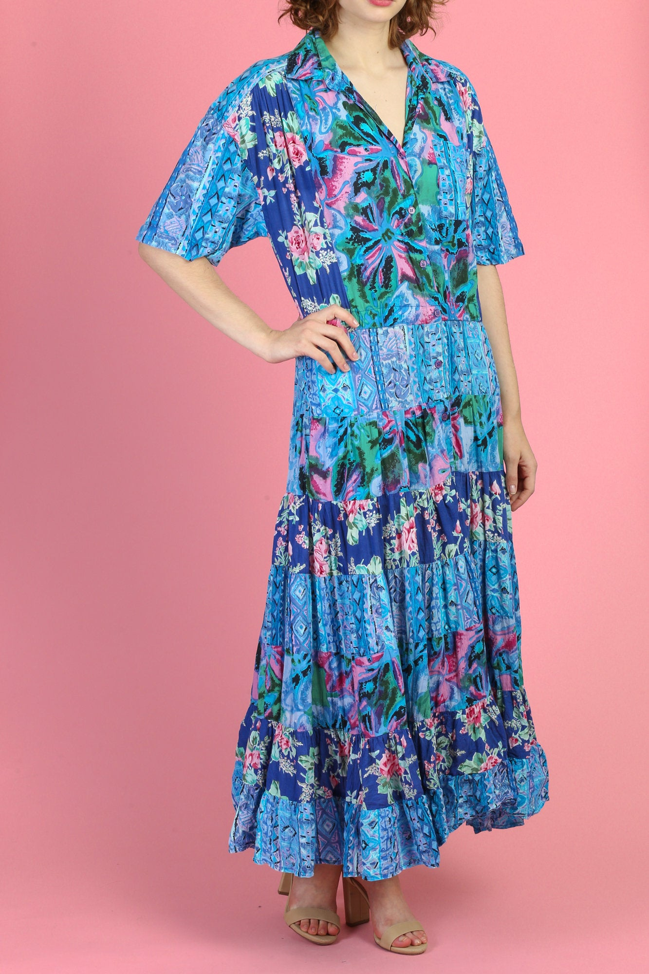 90s Floral Grunge Maxi Dress - Extra Large