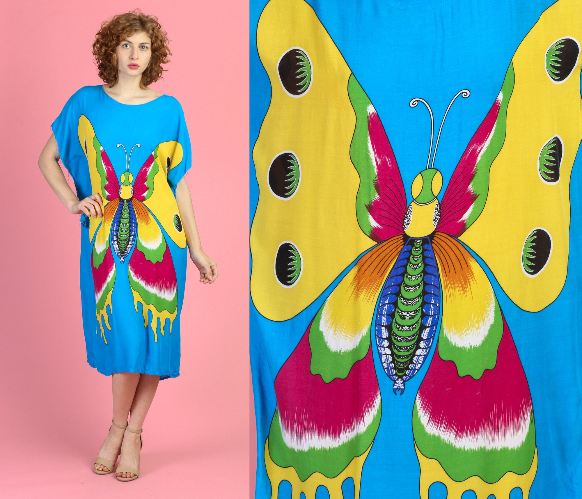 Vintage Butterfly Kaftan Dress - One Size