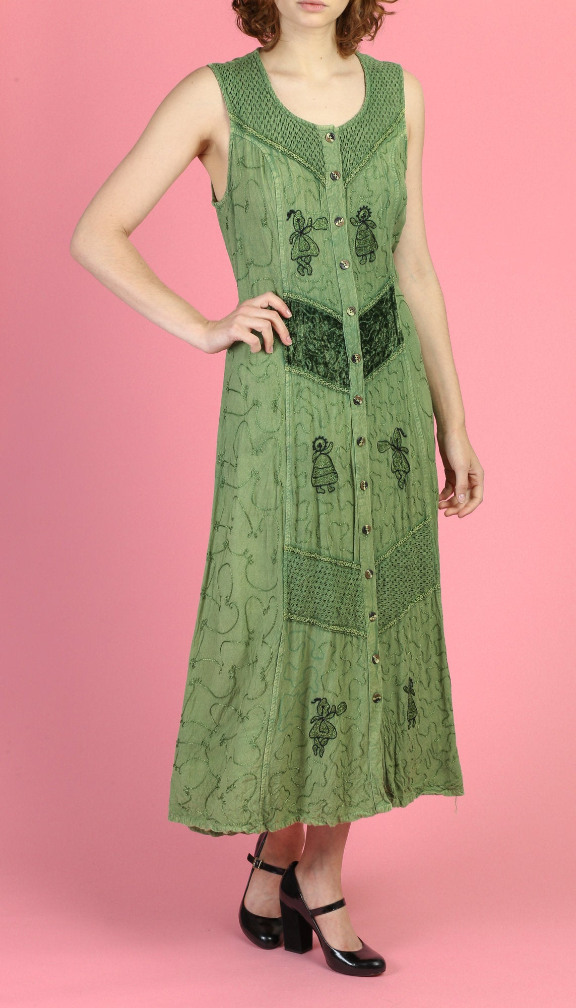 90s Green Embroidered Indian Maxi Dress - One Size