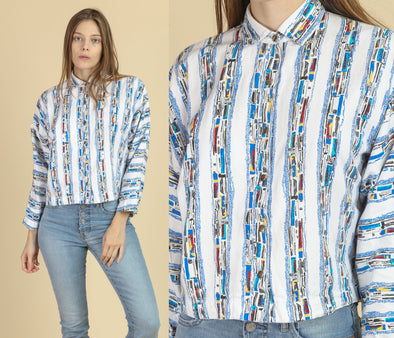 80s Striped Snap Button Crop Shirt - Small