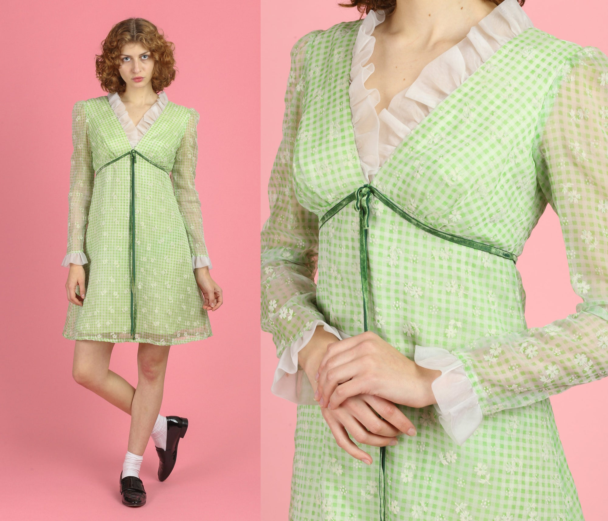 60s Green Gingham Mini Dress - Medium