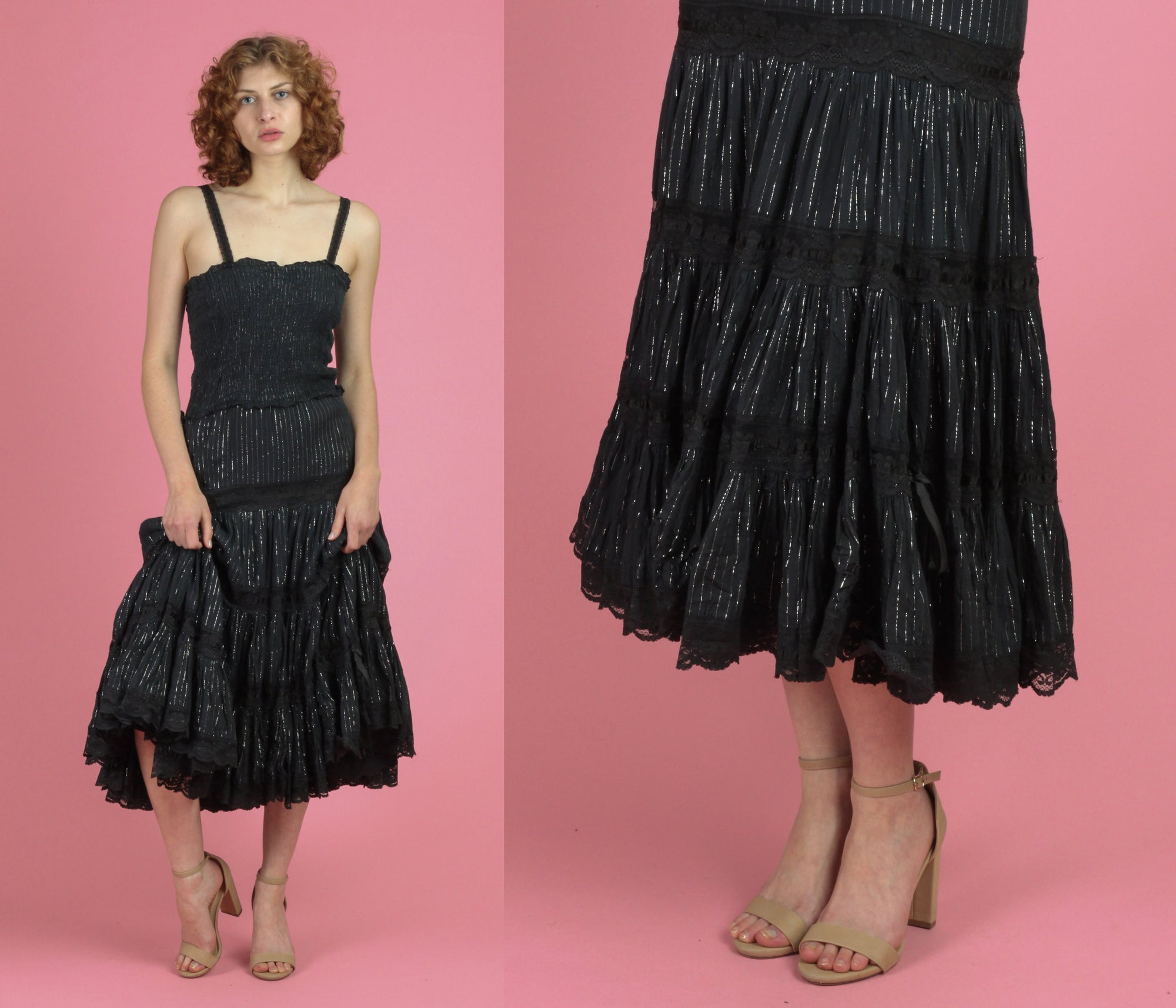 Vintage Indian Black Metallic Gauzy Sundress - Small