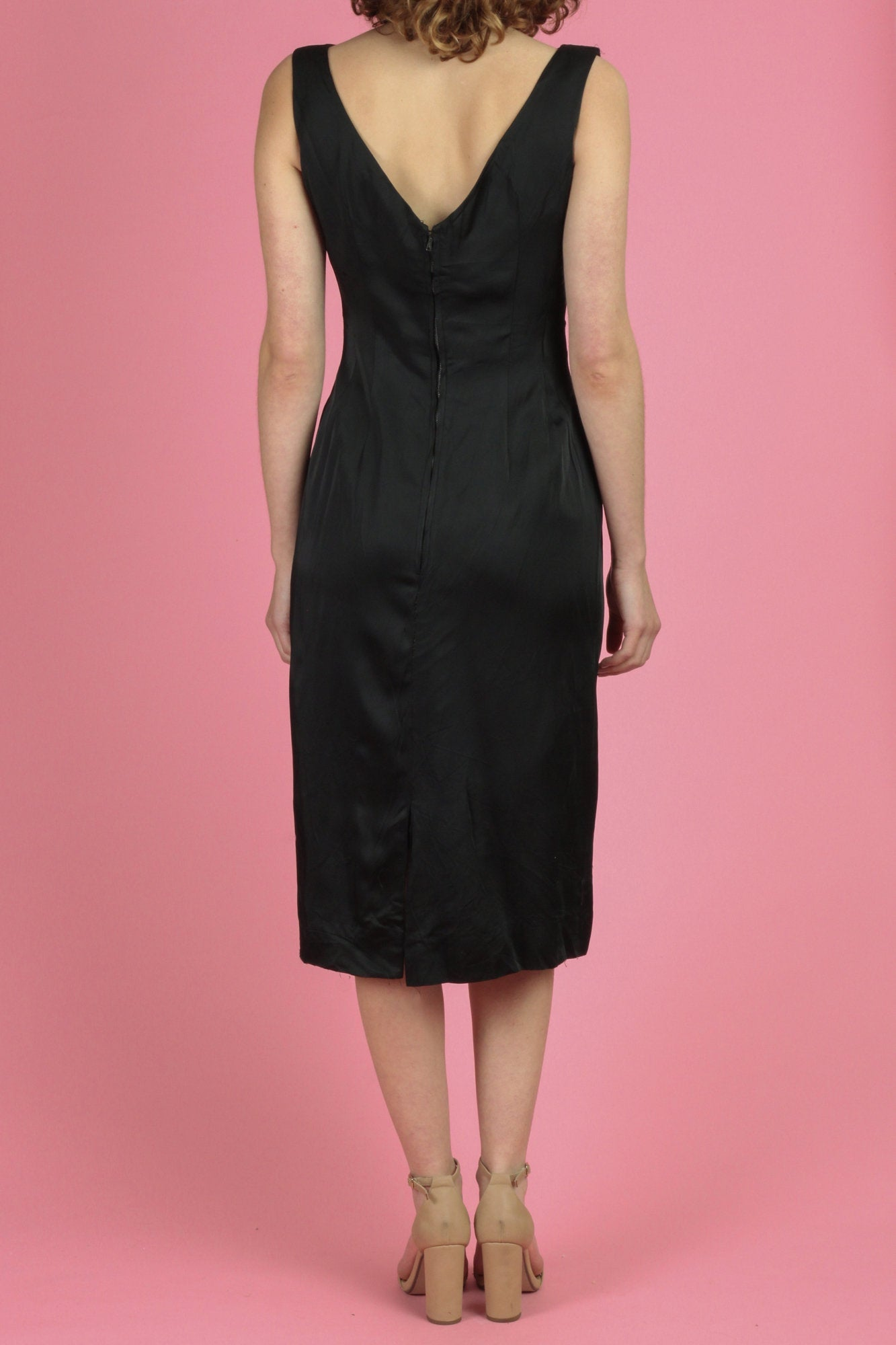 Vintage 1950s Black Satin Wiggle Dress - Medium