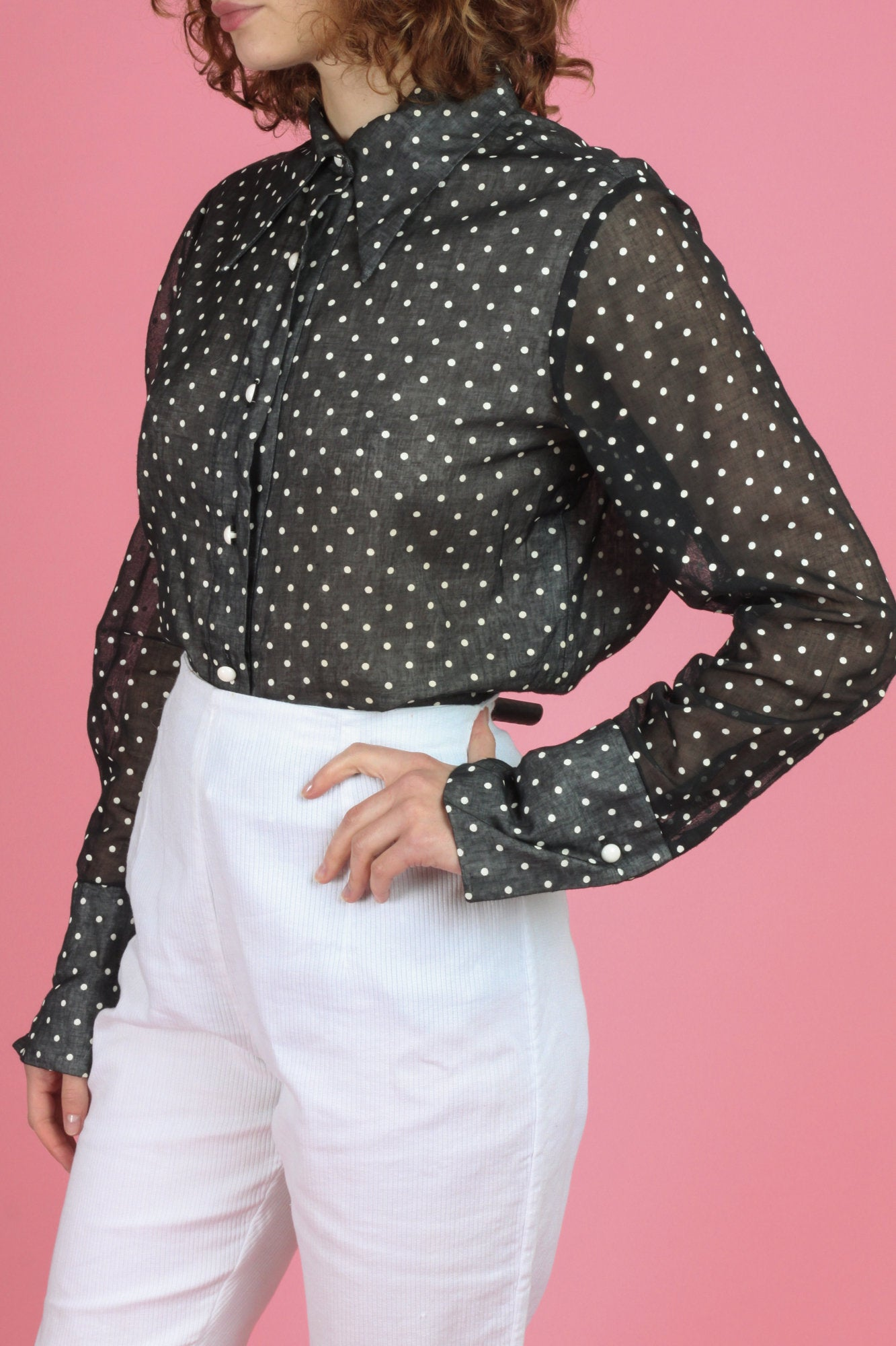 70s Black & White Polka Dot Cufflink Top - Large
