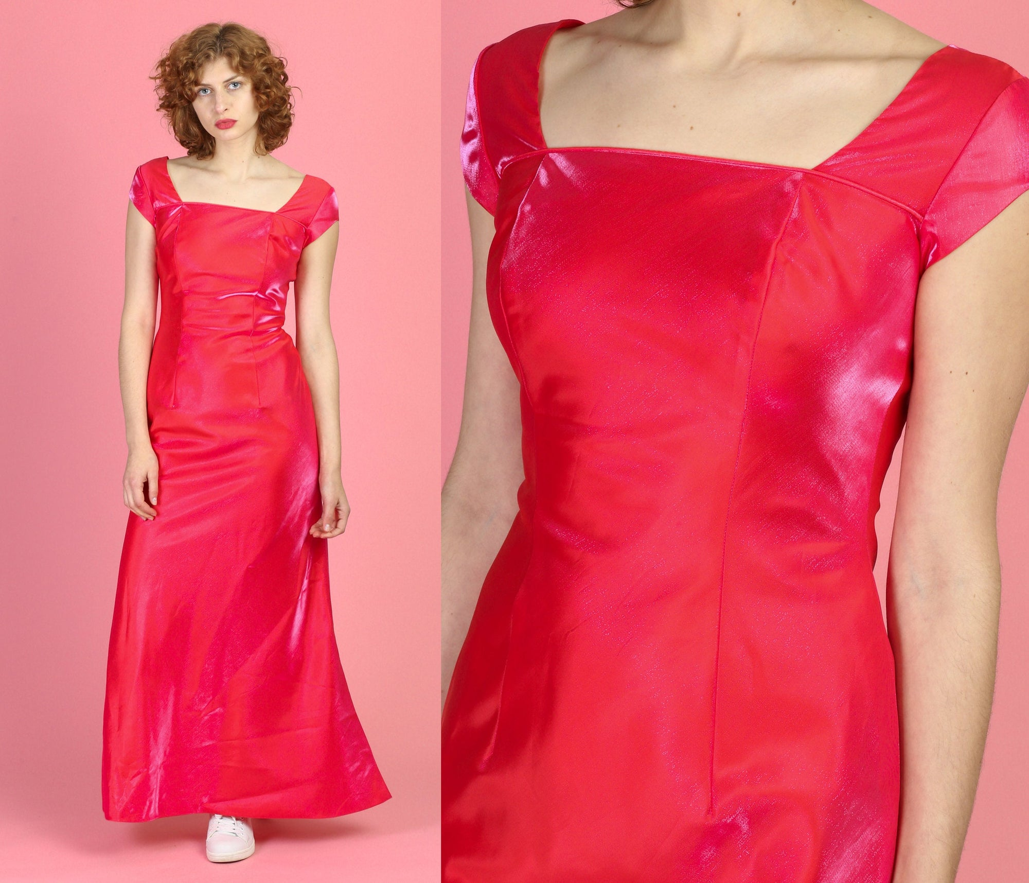 Vintage Coral Pink Shiny Evening Gown - Small, 4