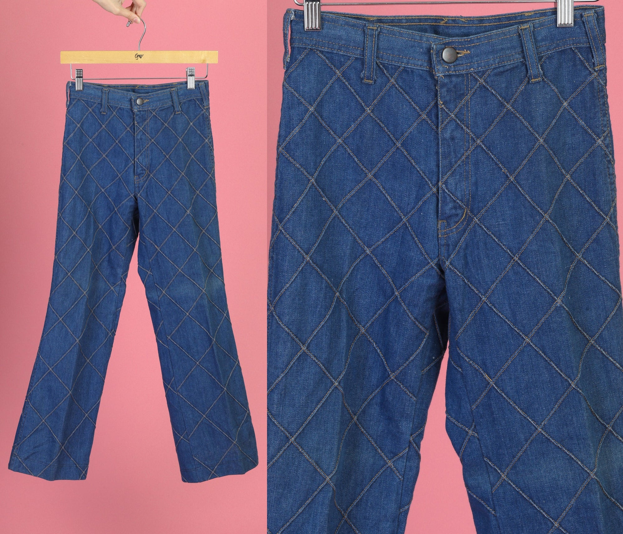 Vintage 70s Diamond Jeans - Girl's 14, Women's XXS