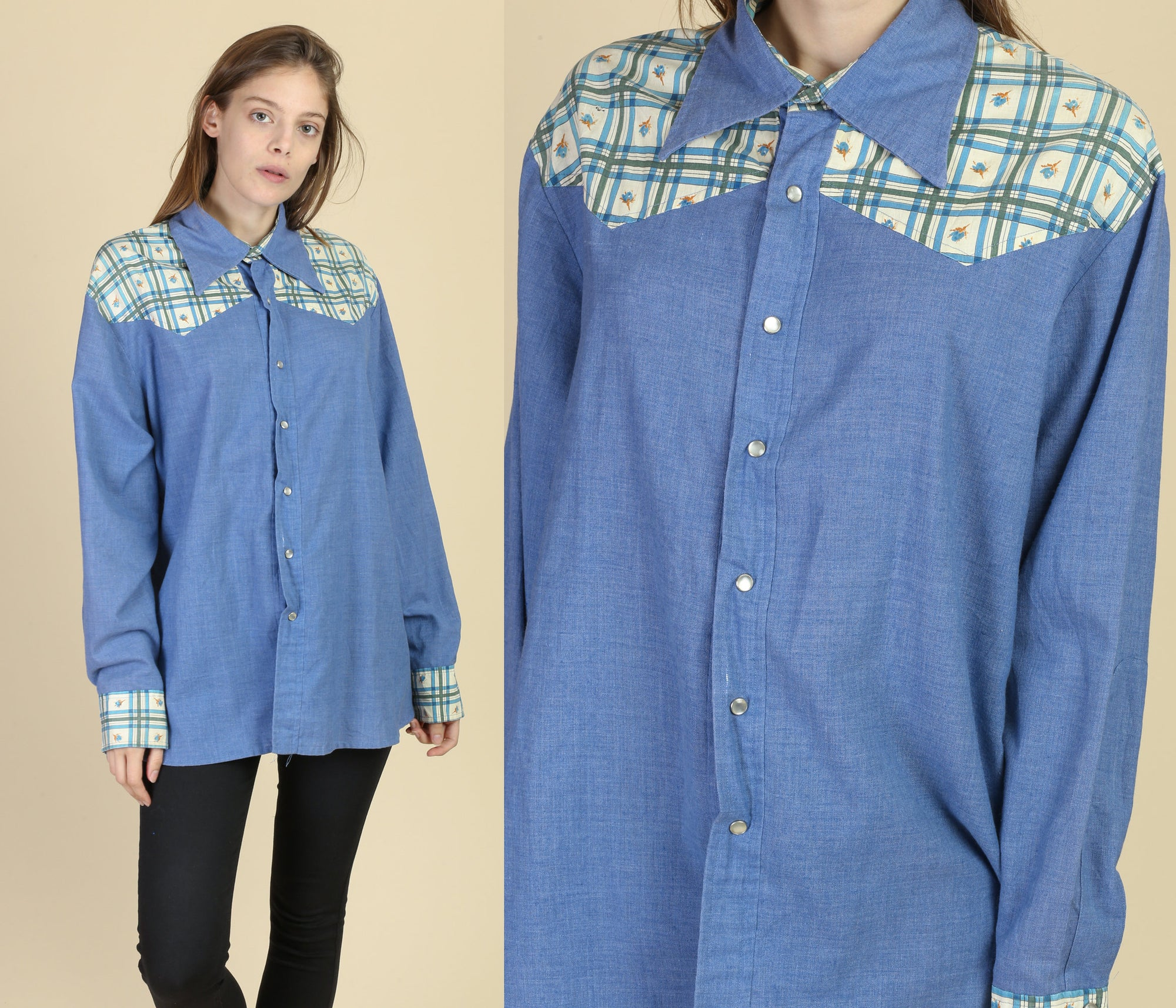70s Chambray Plaid Yoke Western Shirt - Men's Extra Large