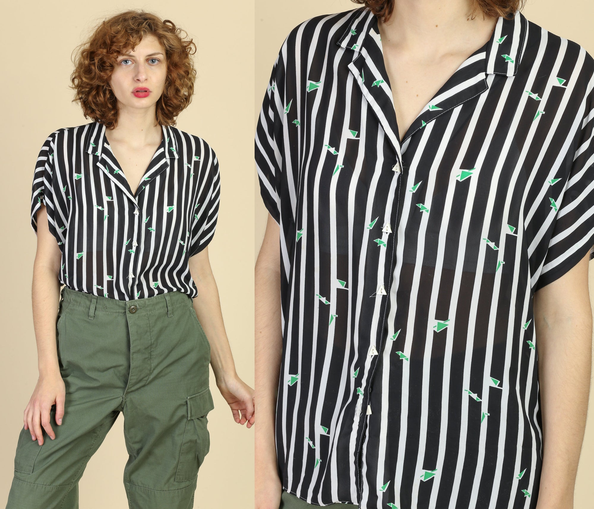 80s Sheer Striped Button Up Blouse - Extra Large