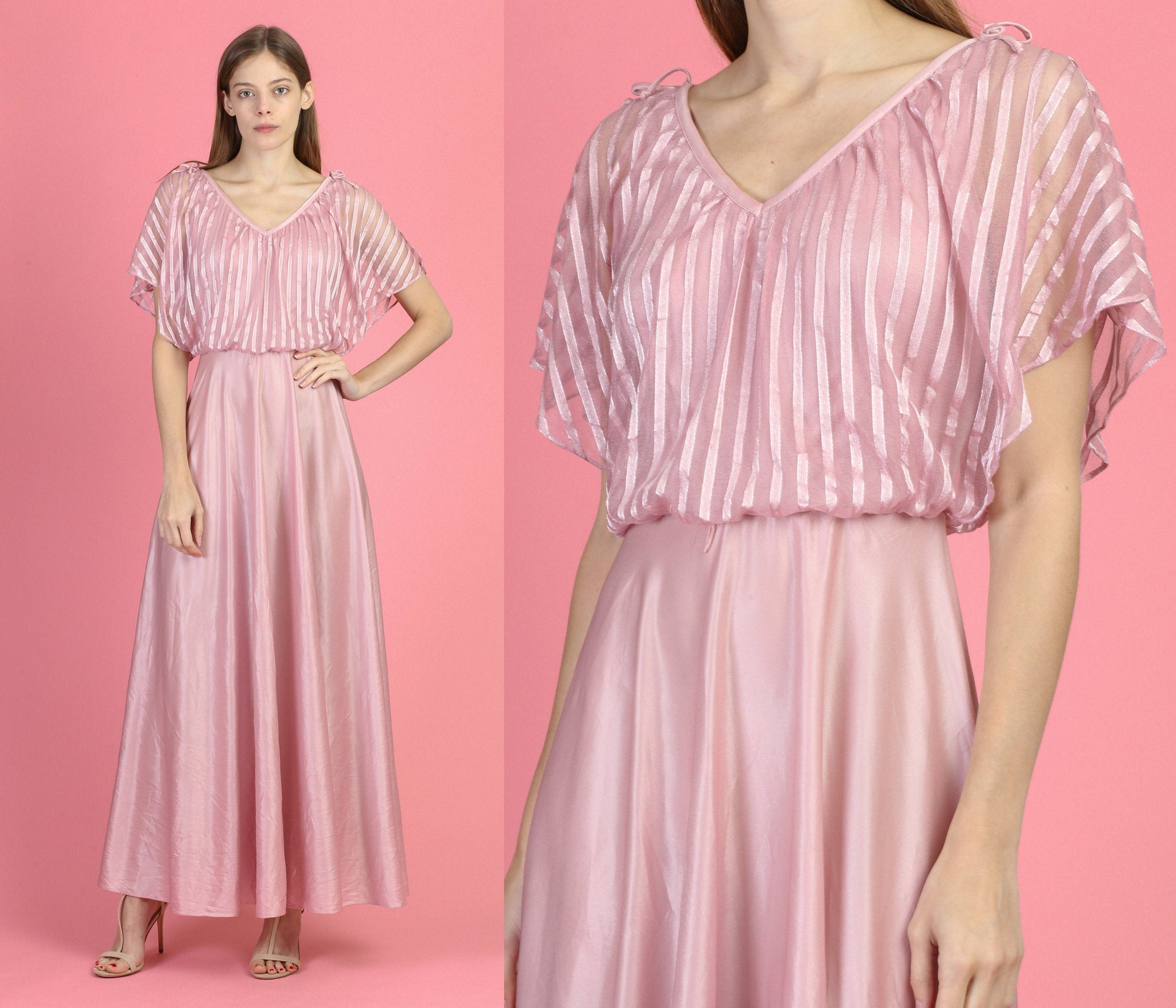 70s Boho Mauve Disco Gown - Small