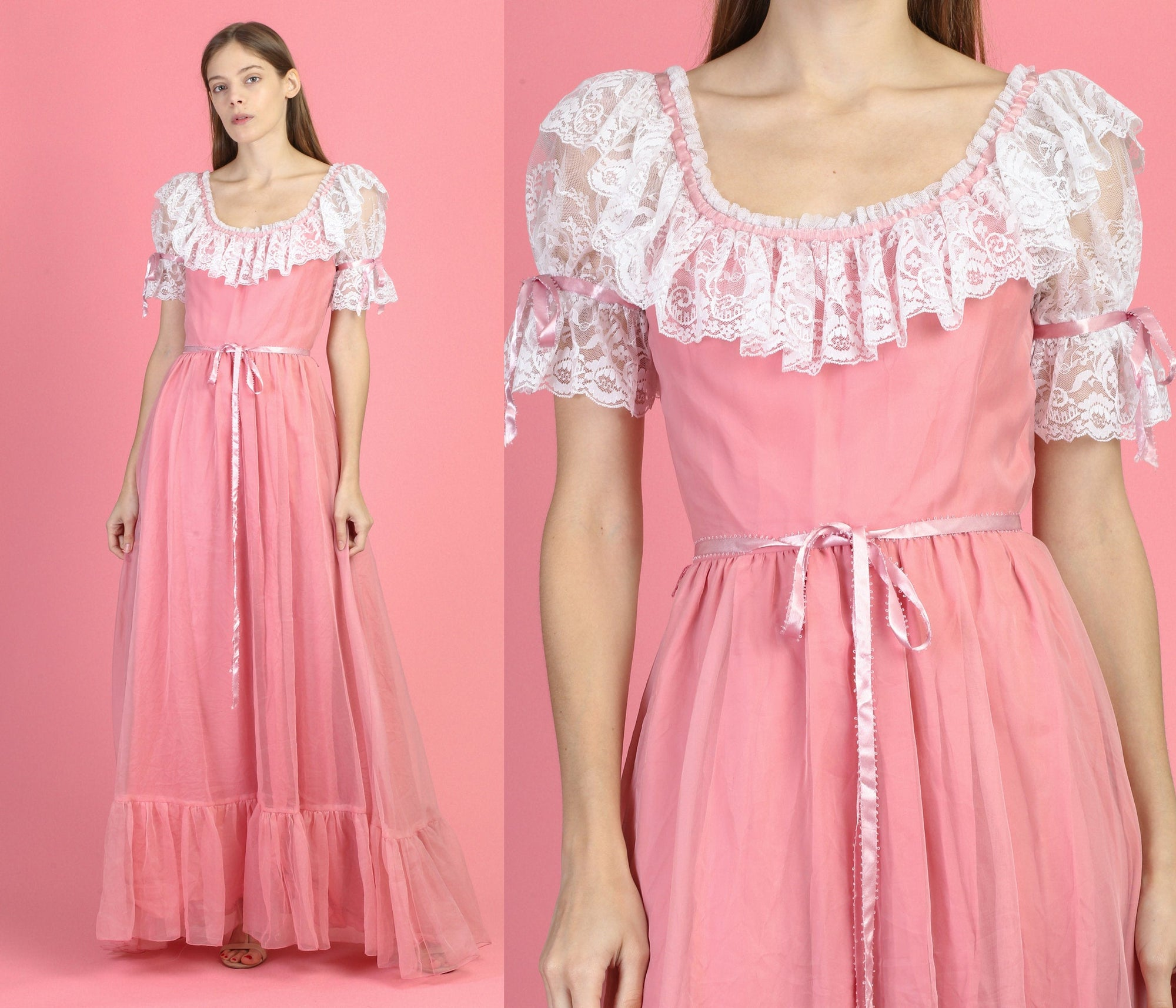 70s Pink Princess Maxi Gown - Extra Small