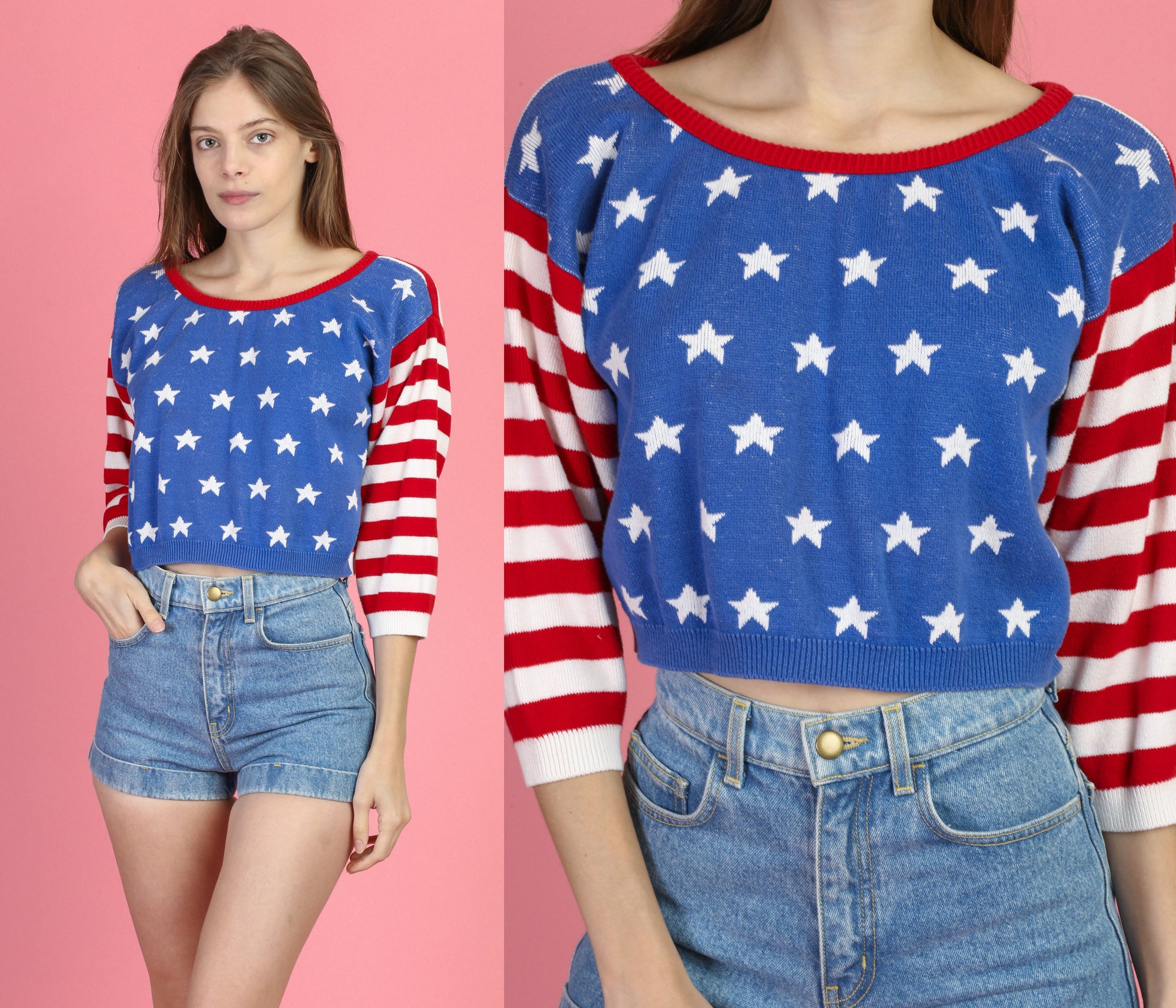 80s American Flag Cropped Sweater - Medium