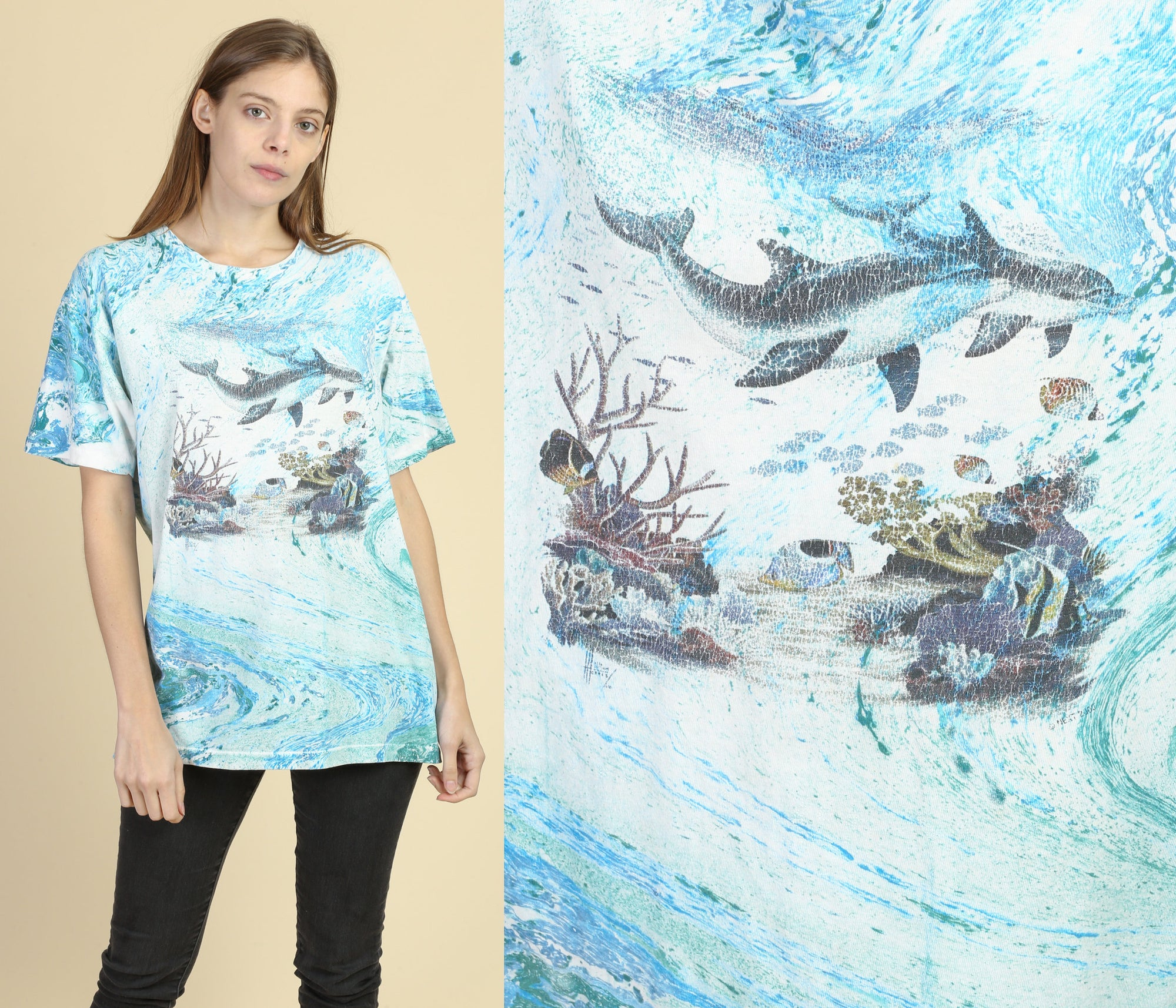 90s Dolphin All Over Print Tee - Large