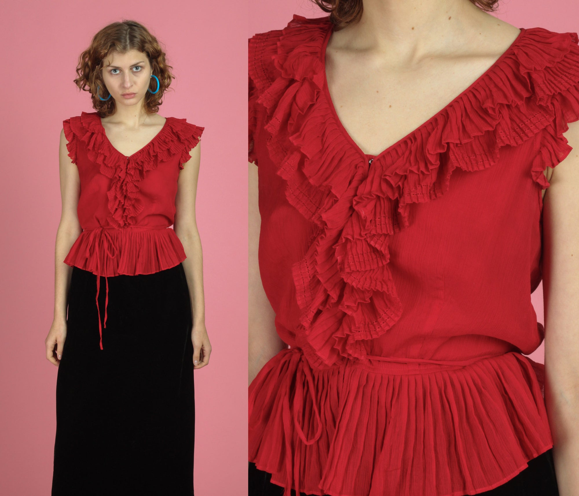 Vintage Emanuel Ungaro Red Silk Blouse - Medium
