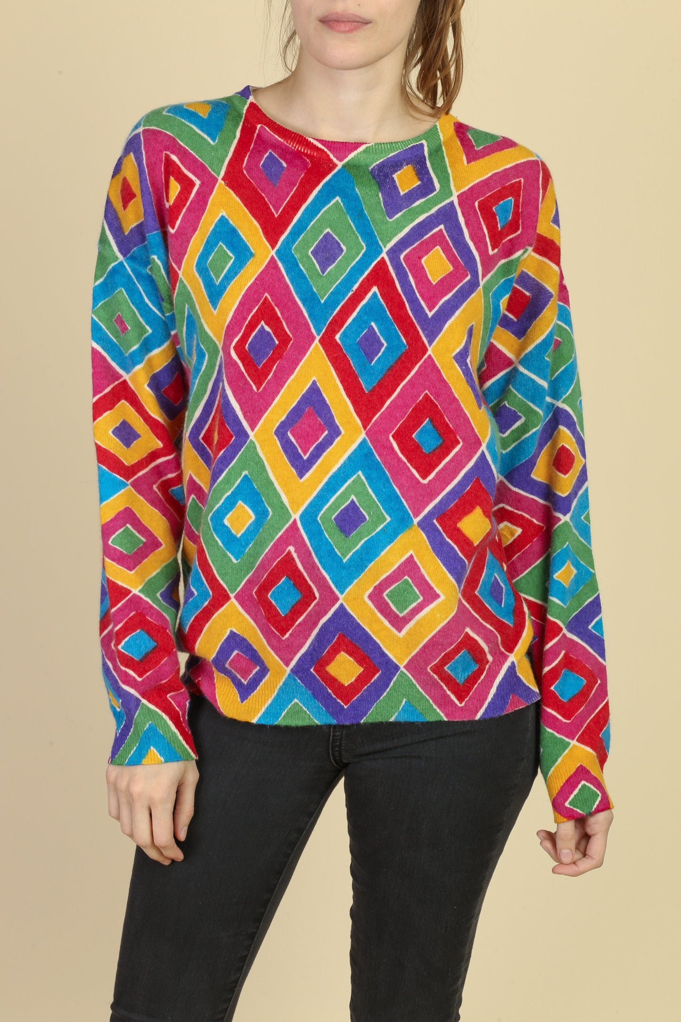 80s Colorful Lambswool Sweater - Large